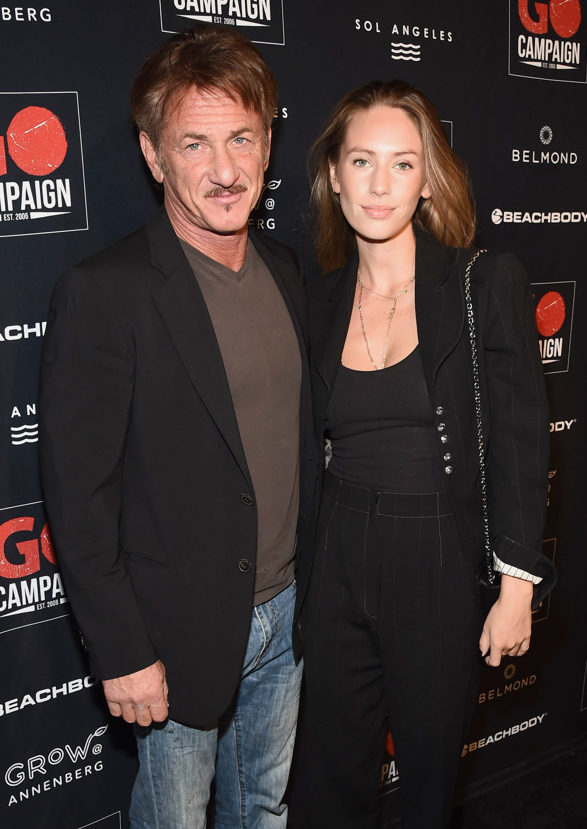 Sean Penn and Dylan Penn attend the GO Campaign 2018 Gala in Los Angeles on Oct. 20, 2018.