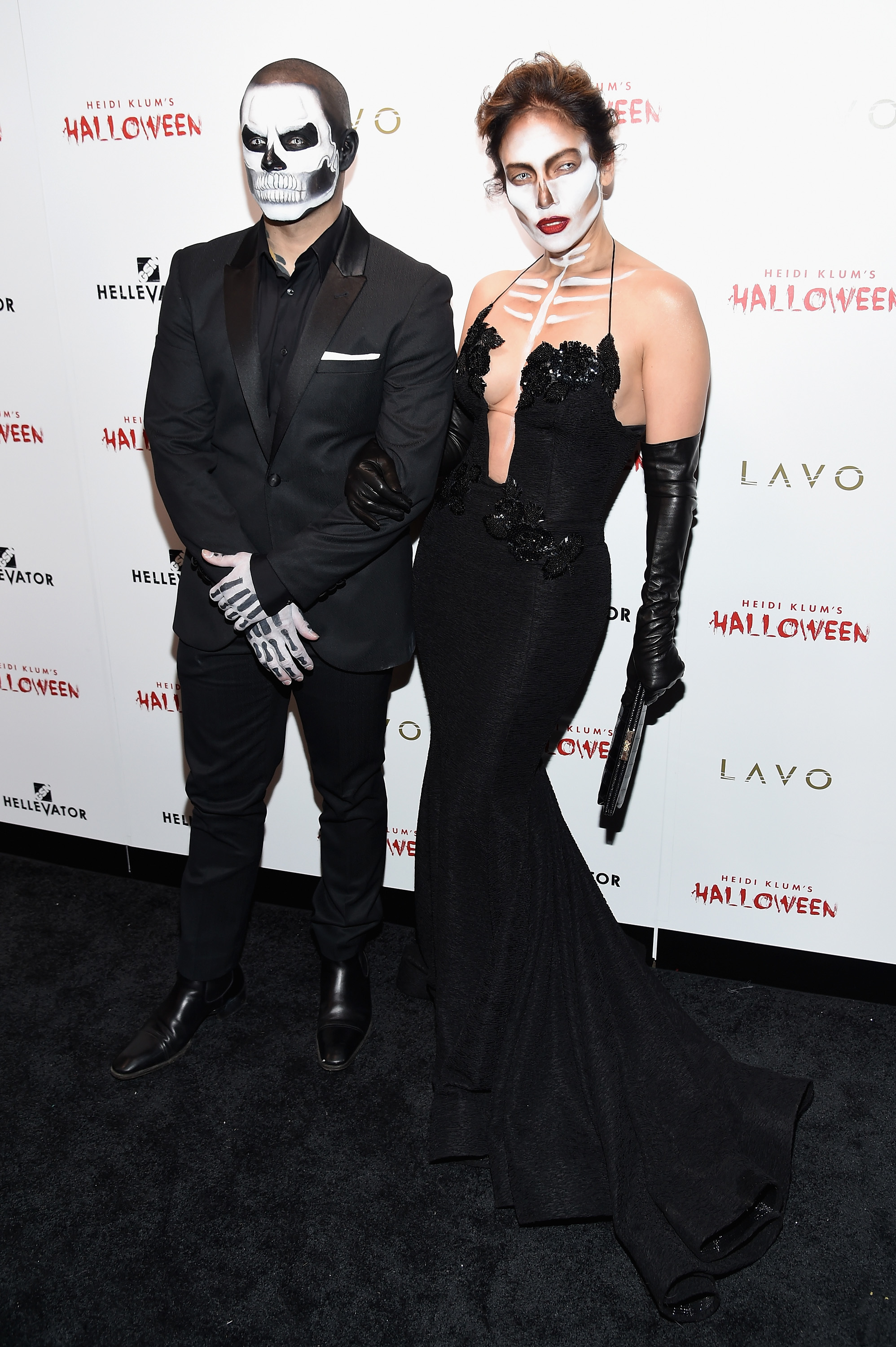 Casper Smart and Jennifer Lopez attend Heidi Klum's 16th Annual Halloween Party sponsored by GSN's Hellevator And SVEDKA Vodka At LAVO New York in New York City on Oct. 31, 2015.