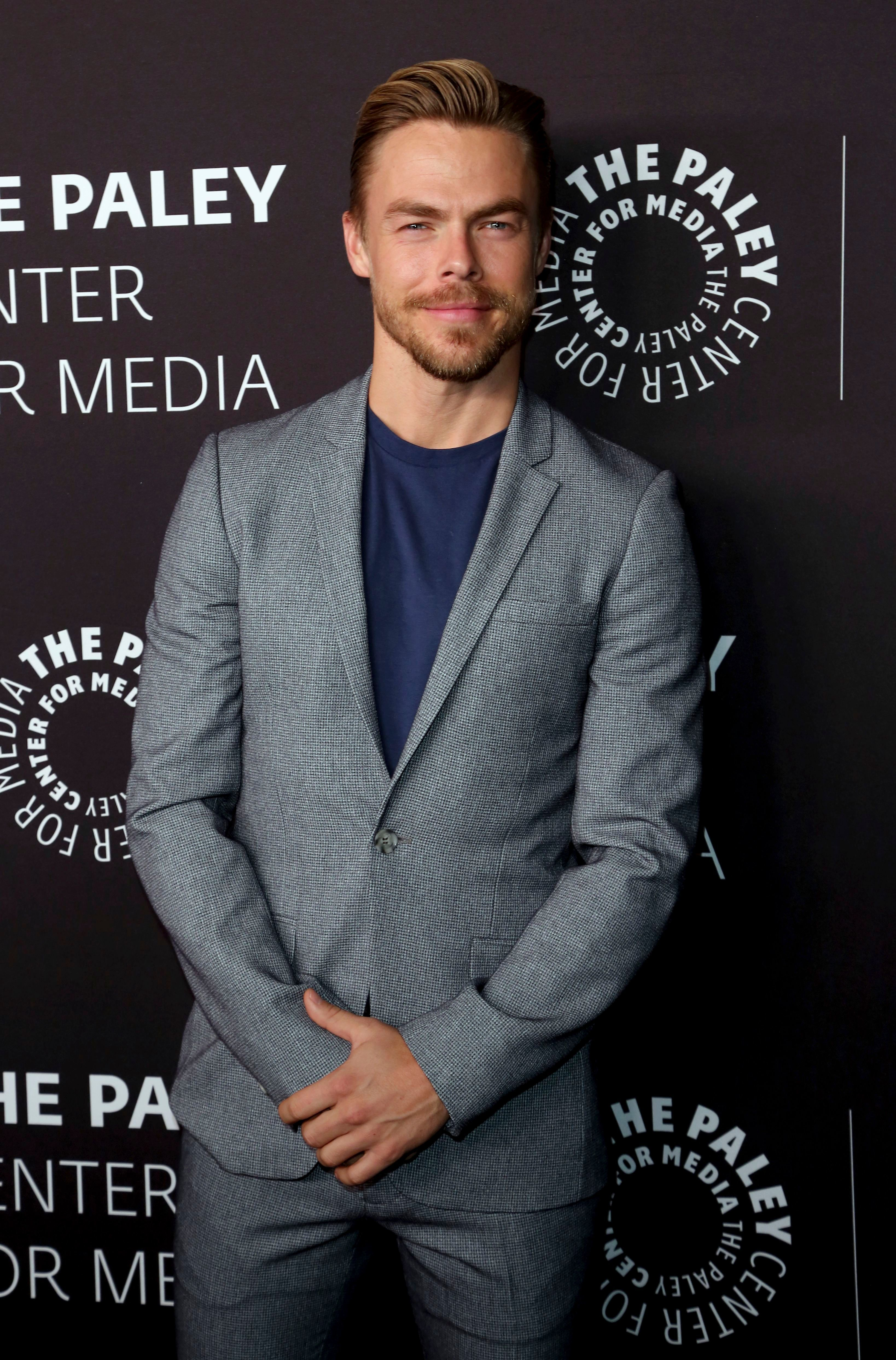 """Derek Hough arrives at the """"Paley Honors in Hollywood: A Gala Tribute to Music on Television"""" event at The Beverly Wilshire on Oct. 25, 2018."""