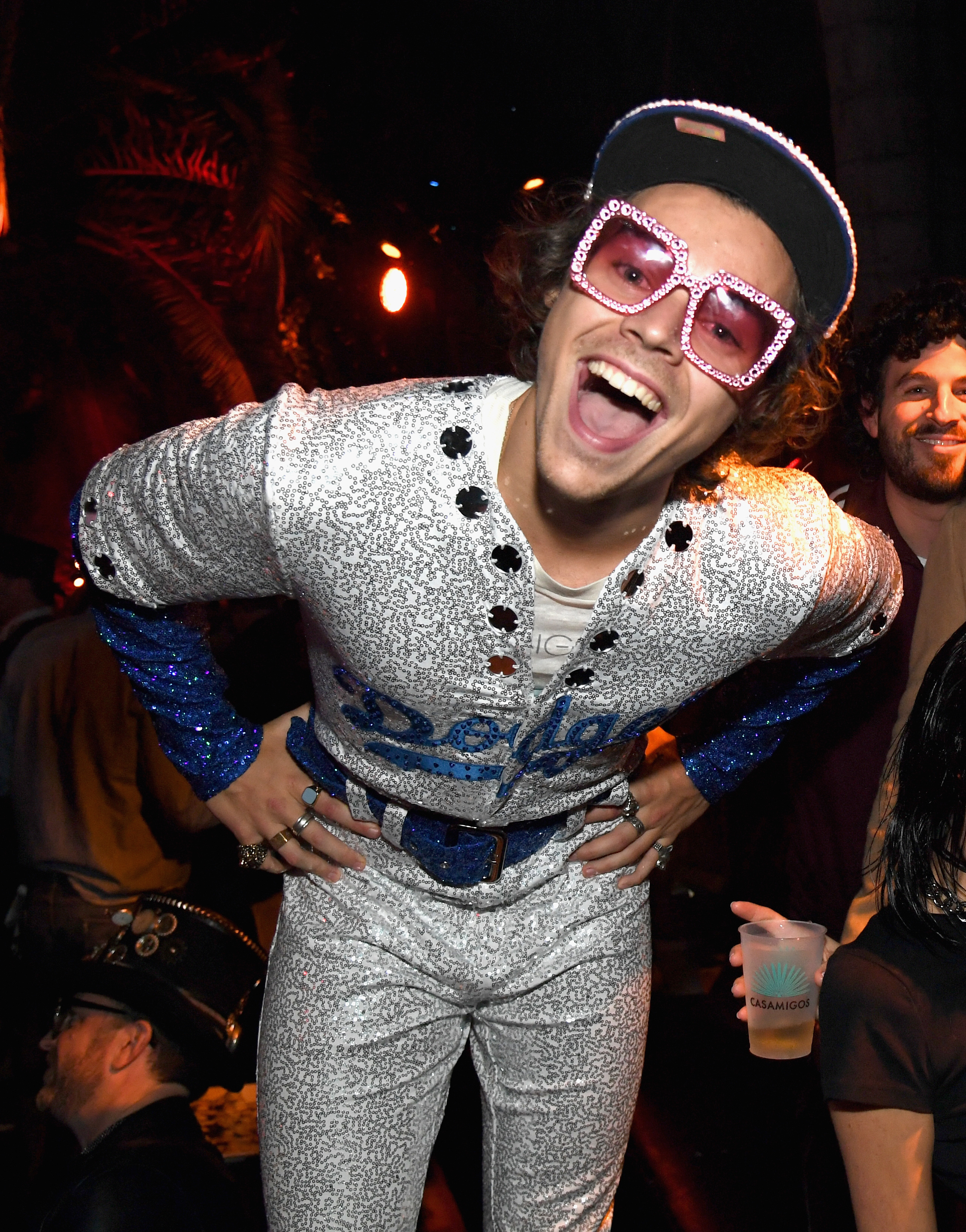 Harry Styles showed his support for the Dodgers baseball team for the Casamigos Halloween party in Los Angeles, Calif., on Oct. 26, 2018.