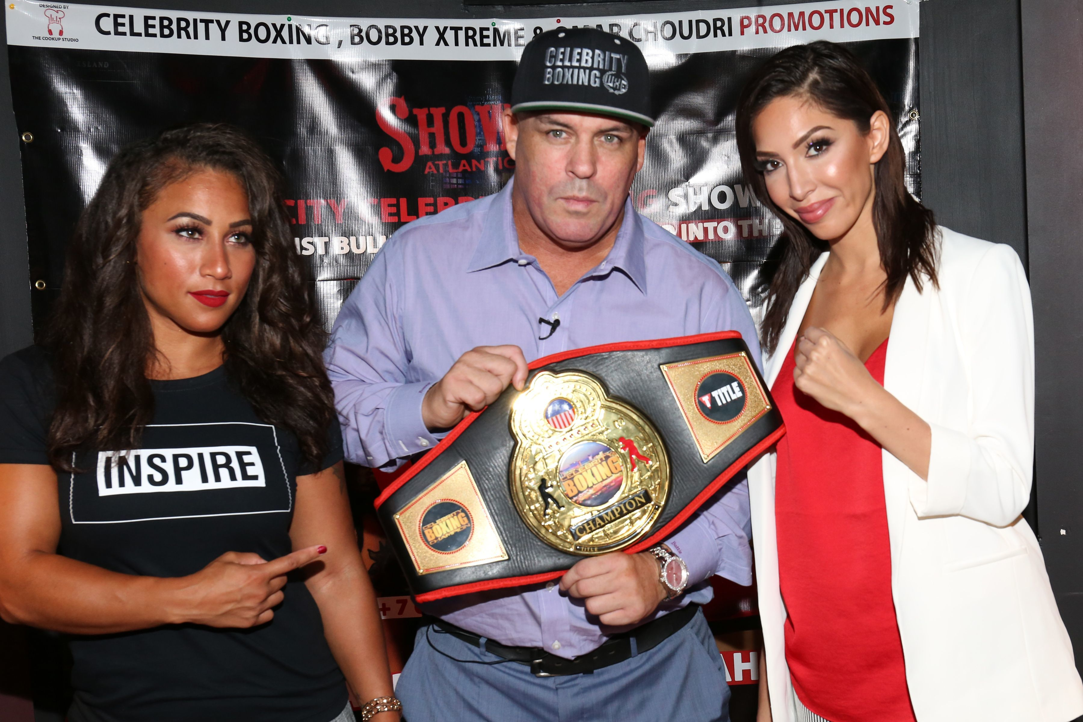 Nicole Alexander, Damon Feldman and Farrah Abraham attend the celebrity boxing press preview in New York City on Aug. 21, 2018.
