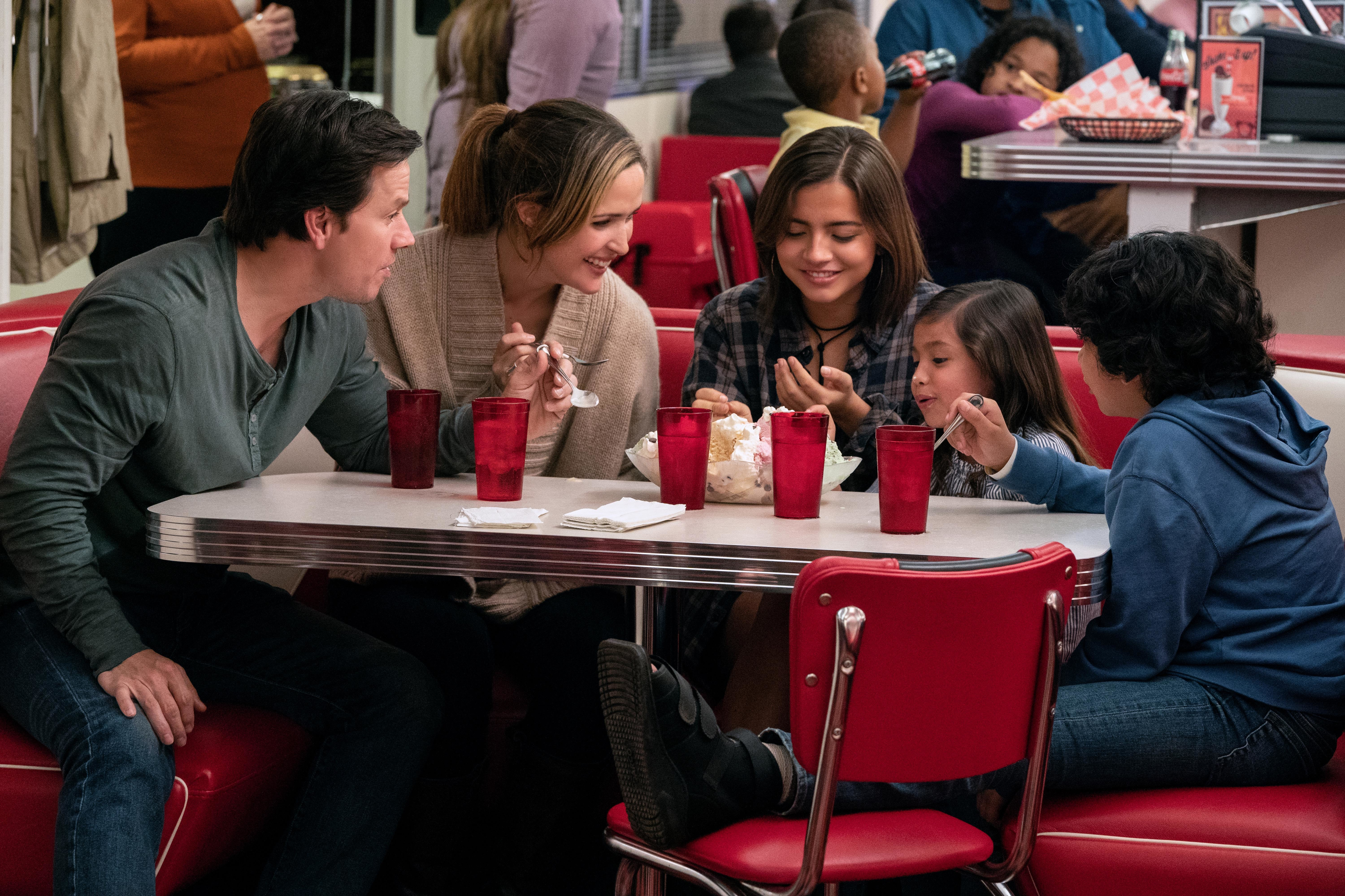"Mark Wahlberg, Rose Byrne, Isabela Moner, Julianna Gamiz and Gustavo Quirozin star in 2018's ""Instant Family."""