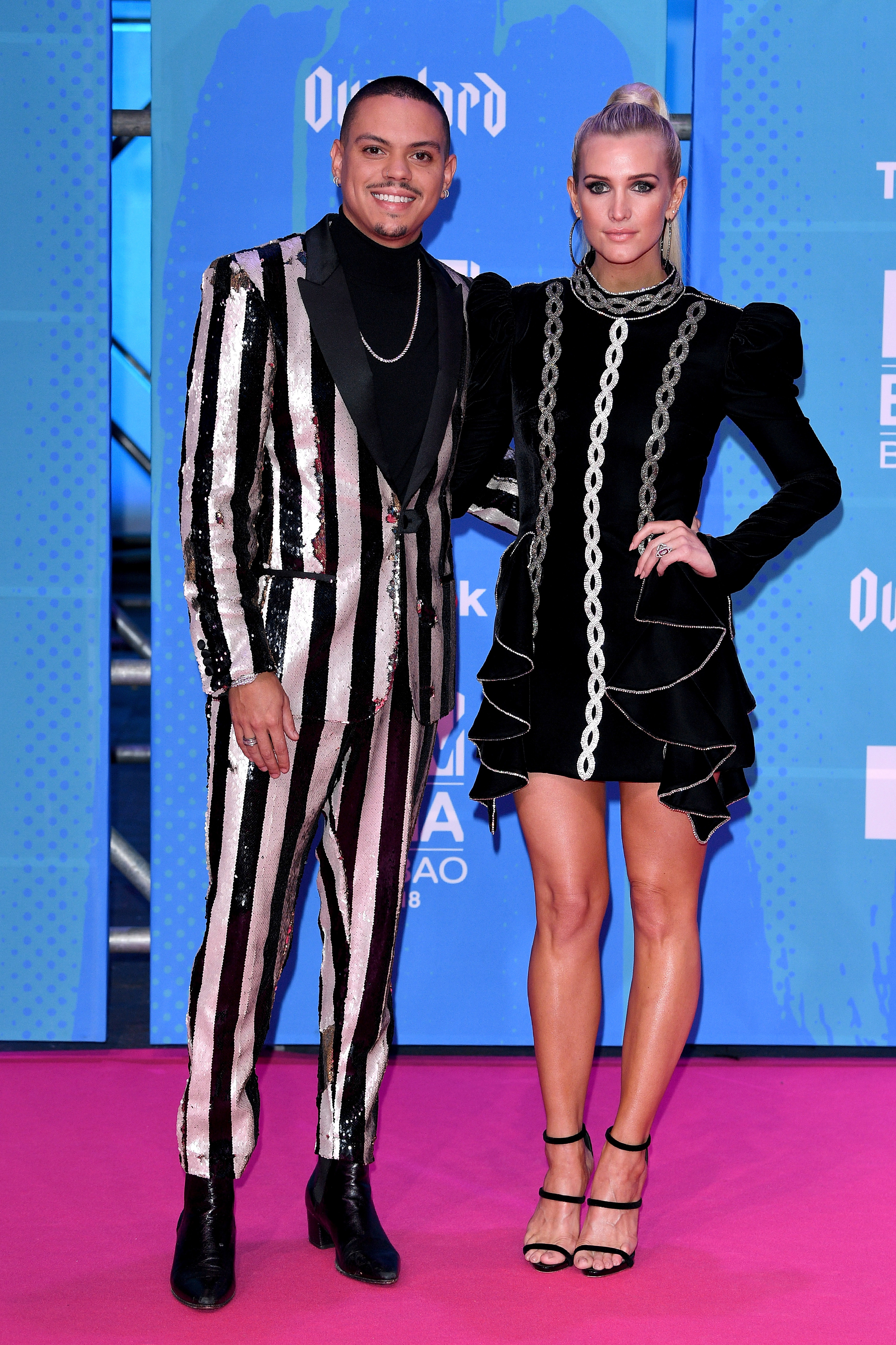 Evan Ross and Ashlee Simpson Ross arrive at the MTV Europe Music Awards in Bilbao, Spain, on Nov. 4, 2018.