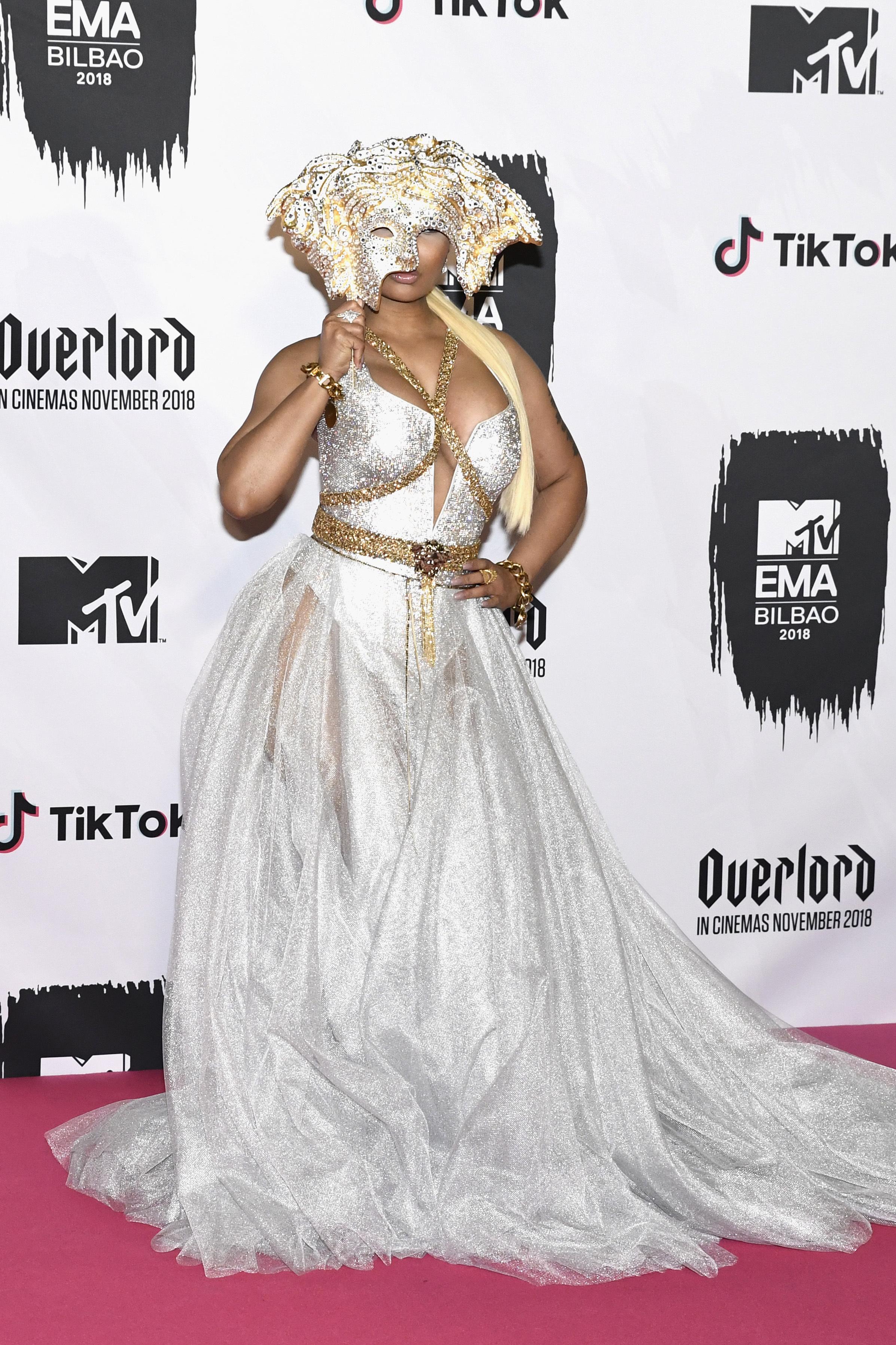 Nicki Minaj arrives at the MTV Europe Music Awards in Bilbao, Spain, on Nov. 4, 2018.