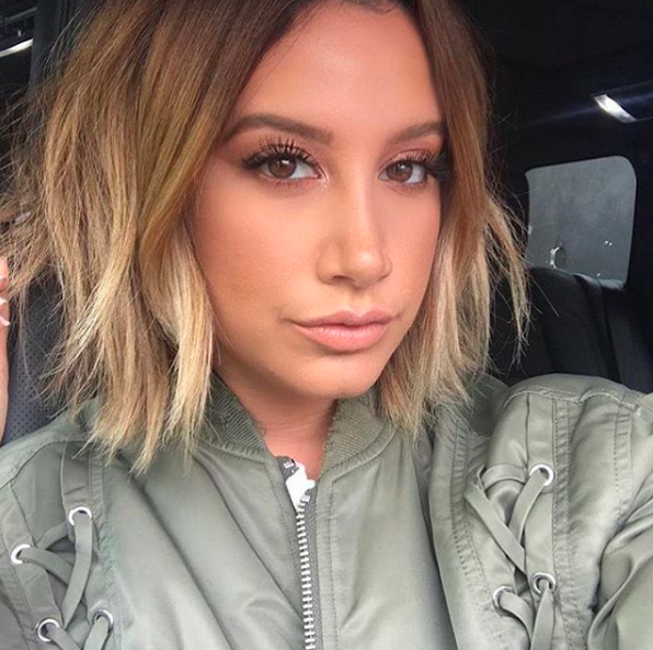 """""""Loving my @anhcotran cut and @makeupbyhaileyhoff 💋💋""""   Ashley Tisdale, who posted this photo on Instagram on June 6, 2018."""