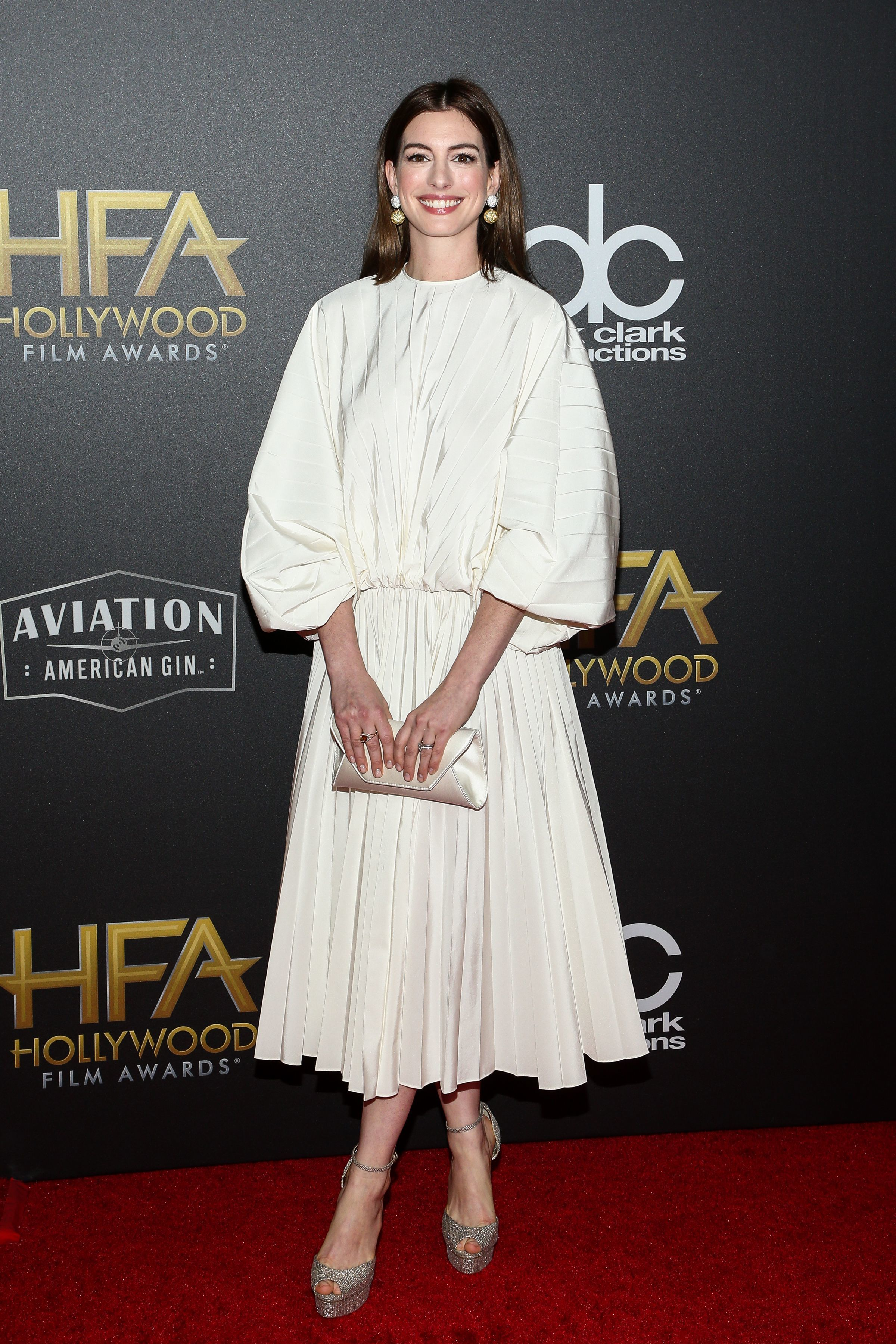 Anne Hathaway arrives at the Hollywood Film Awards, at the Beverly Hilton Hotel in Beverly Hills, California, on Nov. 4, 2018.