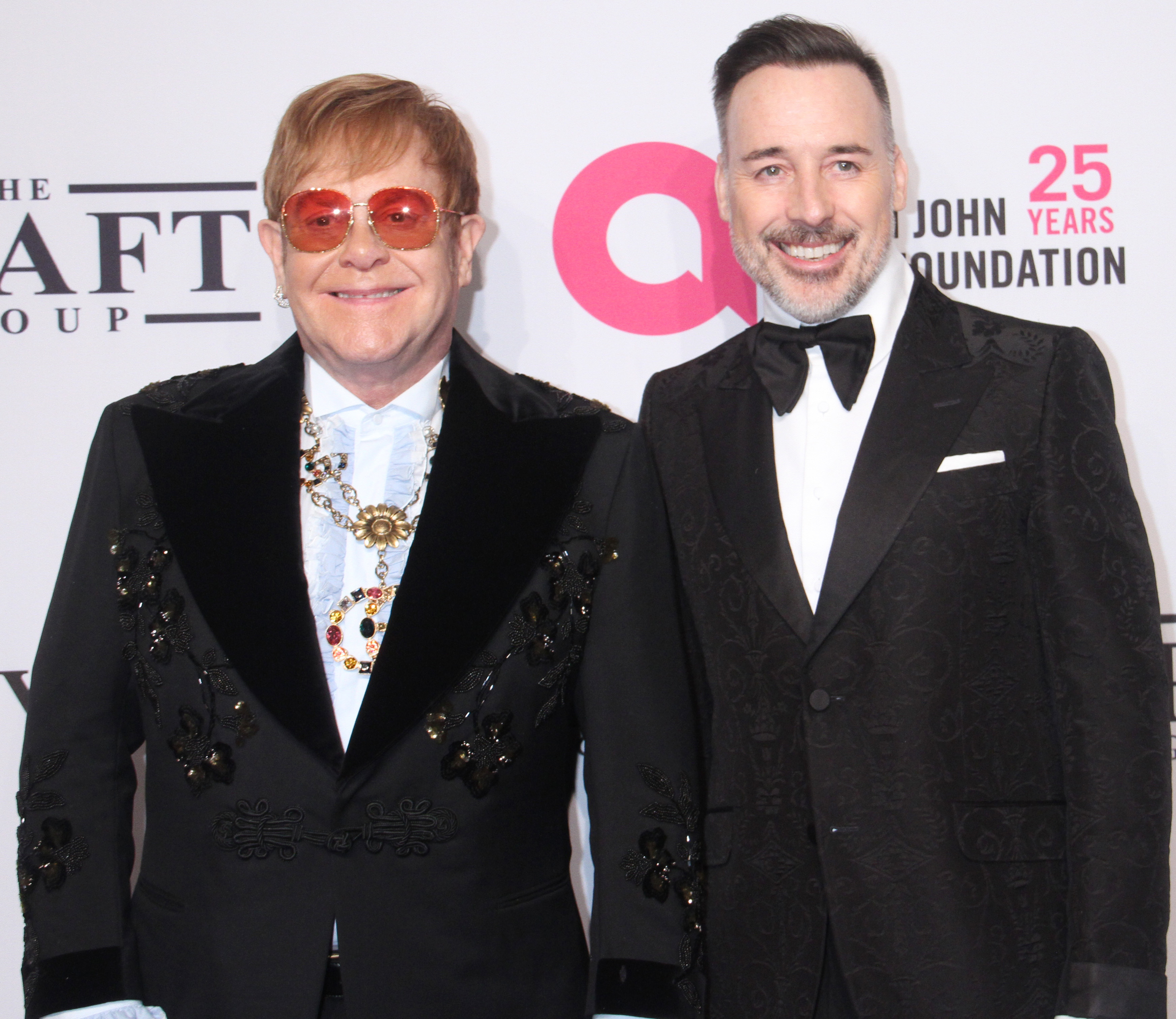 Sir Elton John and David Furnish attend the Elton John AIDS Foundation's 17th Annual An Enduring Vision Benefit Gala in New York City on Nov. 5, 2018.