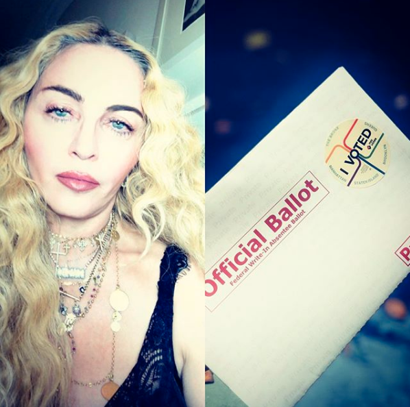 """""""Just Do It! 🇺🇸💙 ! I Just Did From Across the Ocean!! 🌎 People Do your part!! We Got This!! 🇺🇸💙🇺🇸💙🇺🇸👌🏼🇺🇸👌🏼🇺🇸💙🇺🇸 #vote. 💪🏻💪🏻💪🏻. #peoplehavethepower""""   Madonna"""