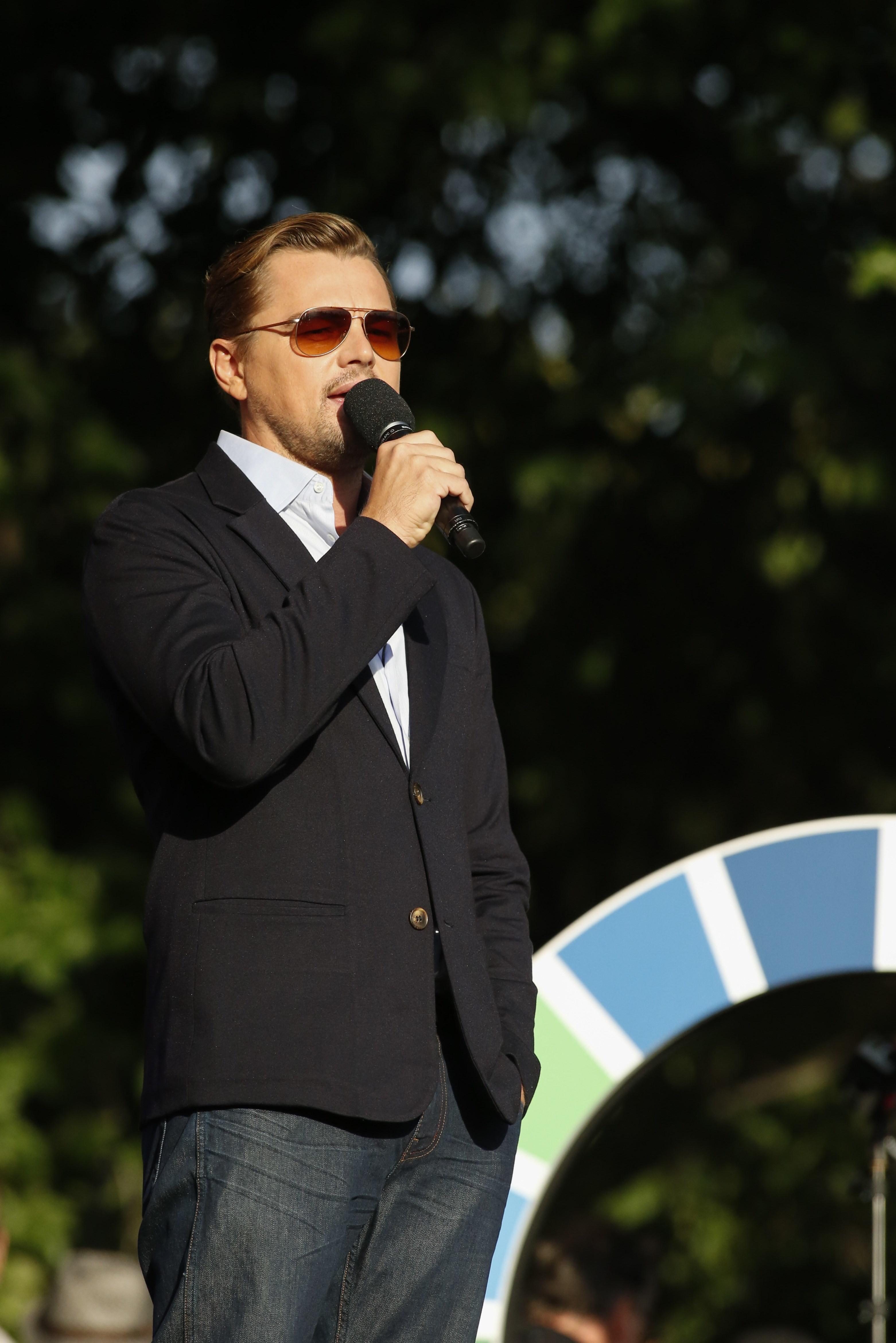 Leonardo DiCaprio attends the fourth annual Global Citizen Festival in Central Park Manhattan in New York on Sept. 26, 2015.