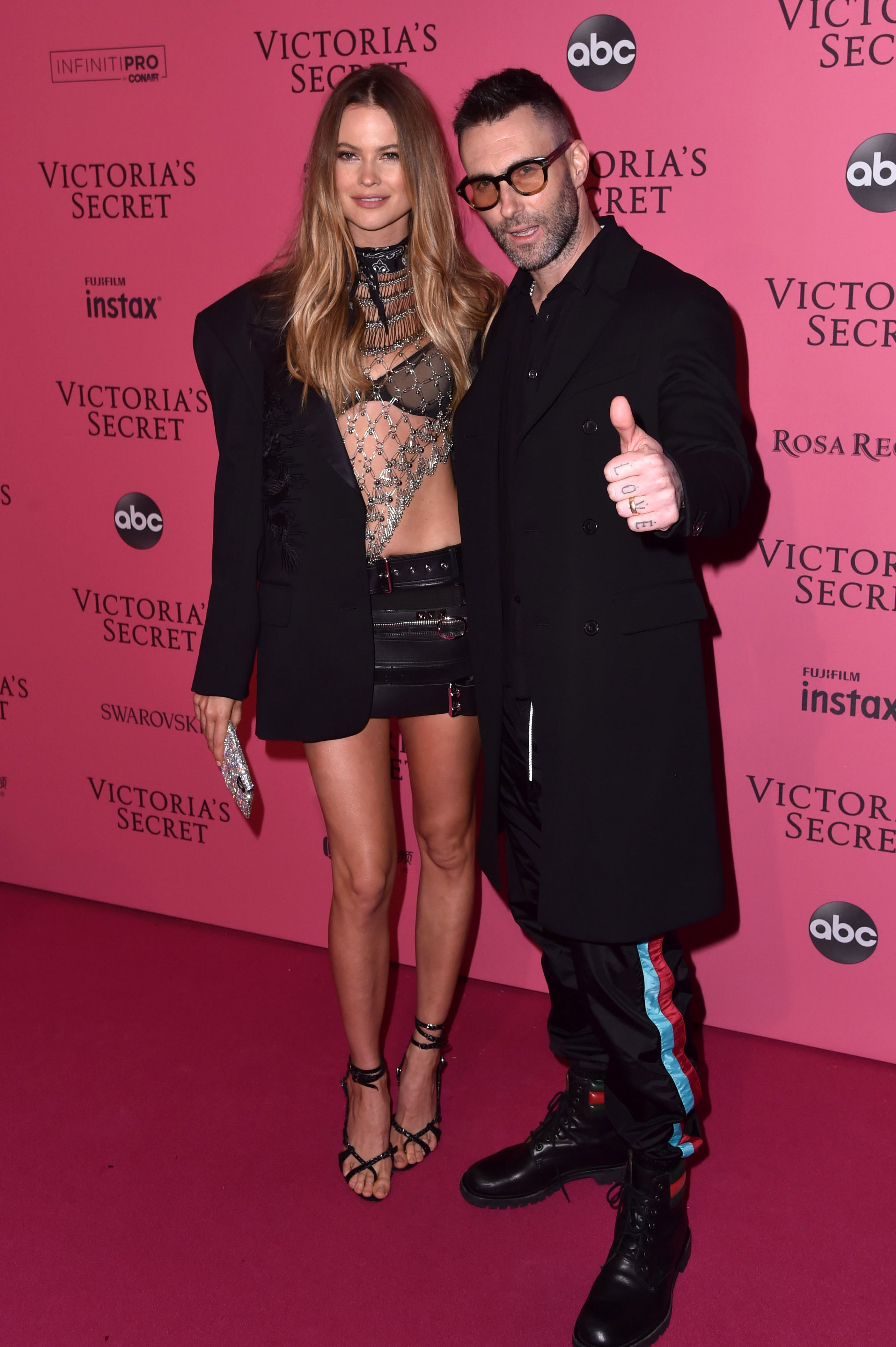Behati Prinsloo and Adam Levine attend the Victoria's Secret Fashion Show After Party in New York City on Nov. 8, 2018.