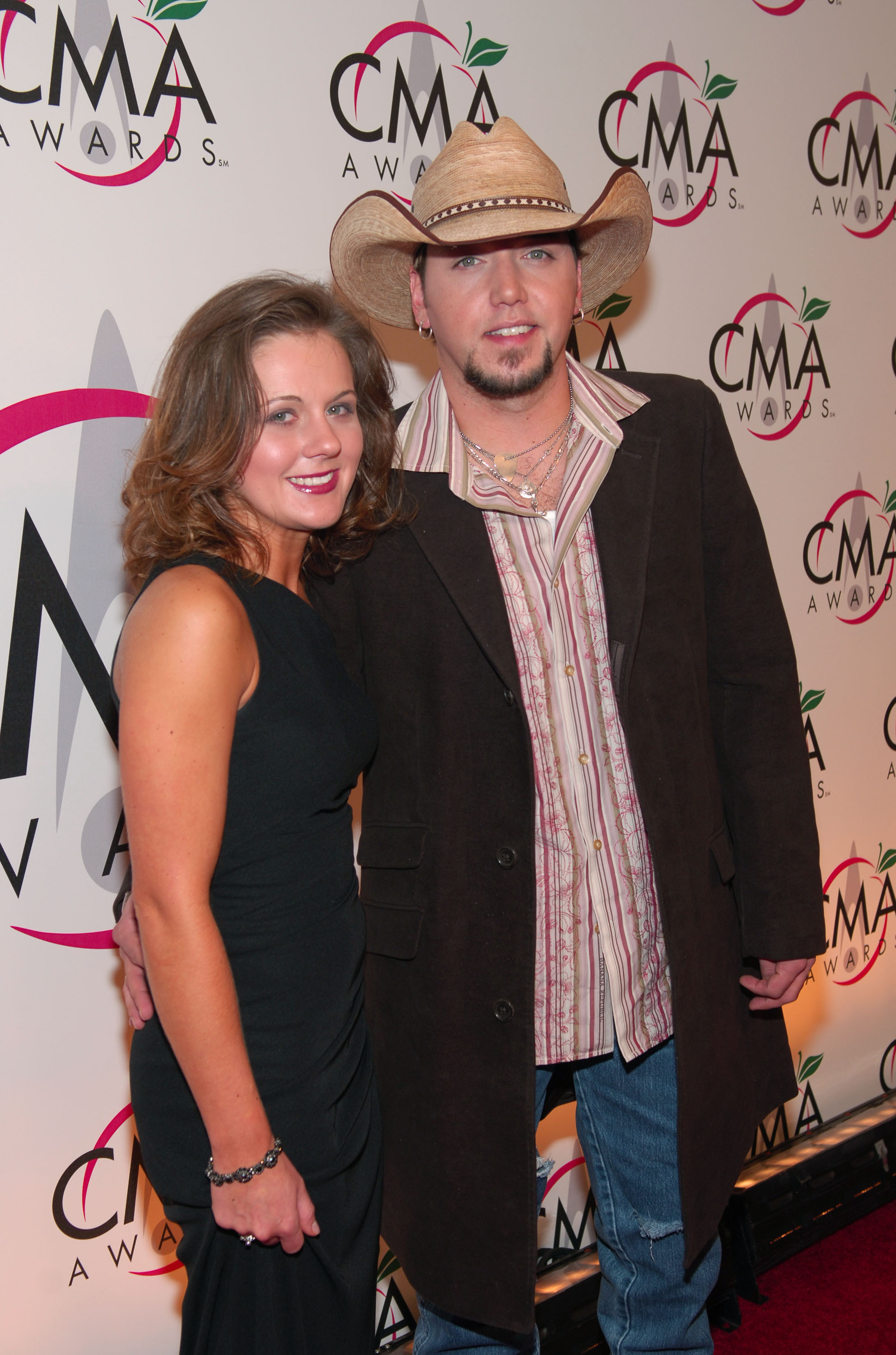 Jason Aldean and then wife Jessica Ussery attend the 39th Annual CMA Awards at Madison Square Garden in New York City on Nov. 15, 2005.