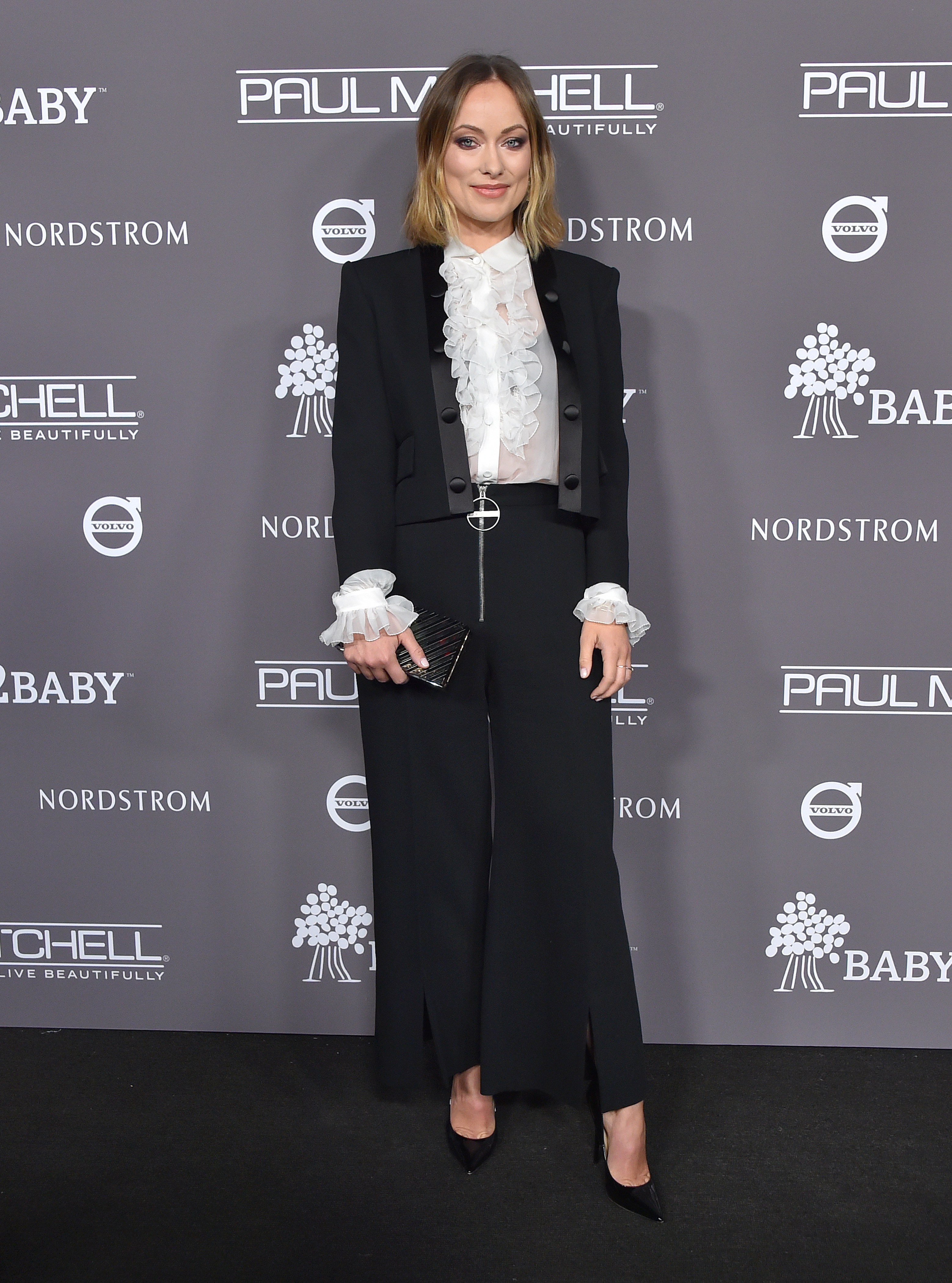 Olivia Wilde arrives for the Baby2Baby Gala presented by Paul Mitchell in Los Angeles on Nov. 10, 2018.