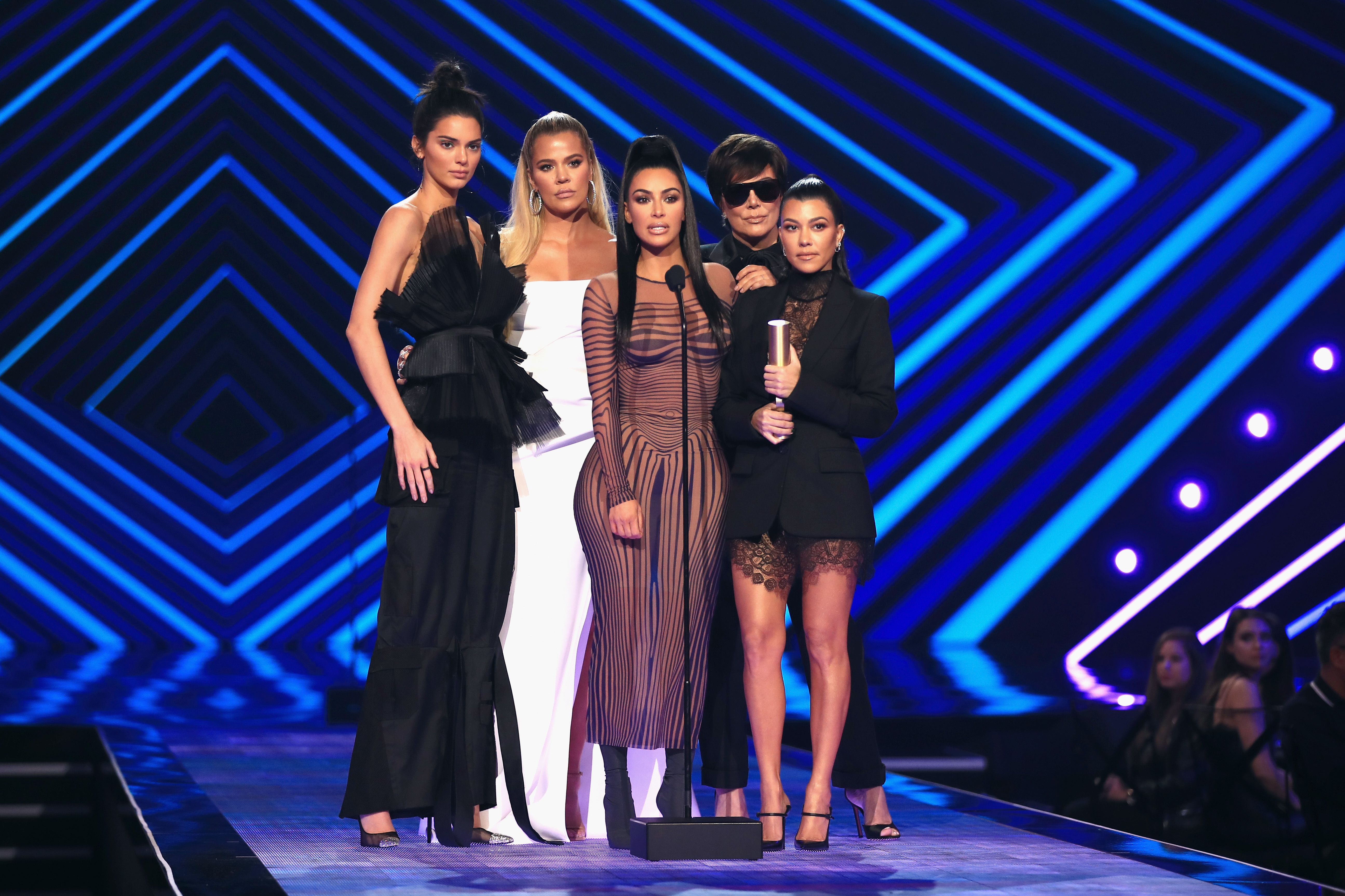 Kendall Jenner, Khloe Kardashian, Kim Kardashian West, Kris Jenner, and Kourtney Kardashian accept the The Reality Show of 2018 award for 'Keeping Up with the Kardashians' during the 2018 E! People's Choice Awardsin Los Angeles on Nov. 11, 2018.