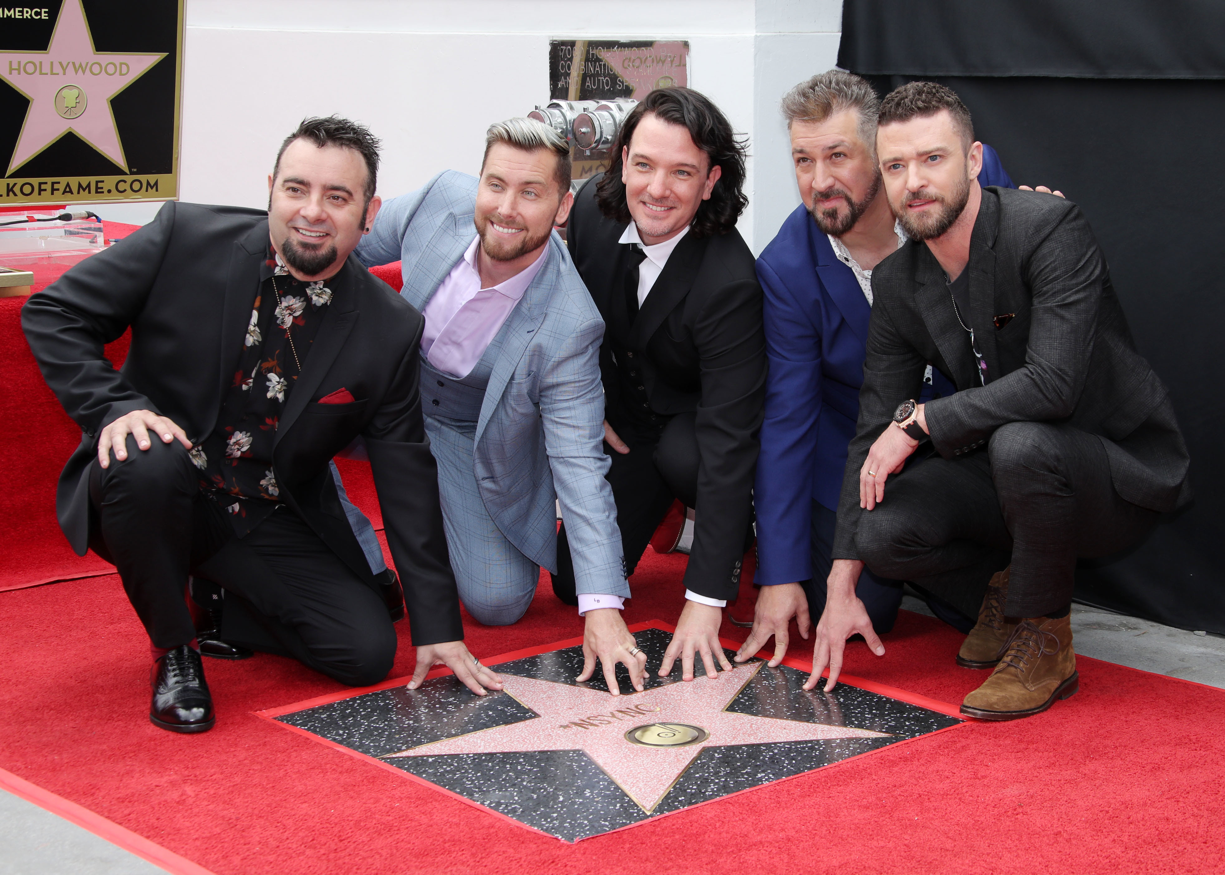 Chris Kirkpatrick, Joey Fatone, JC Chasez, Justin Timberlake and Lance Bass of *NSYNC are honored with a star on the Hollywood Walk of Fame on April 30, 2018.