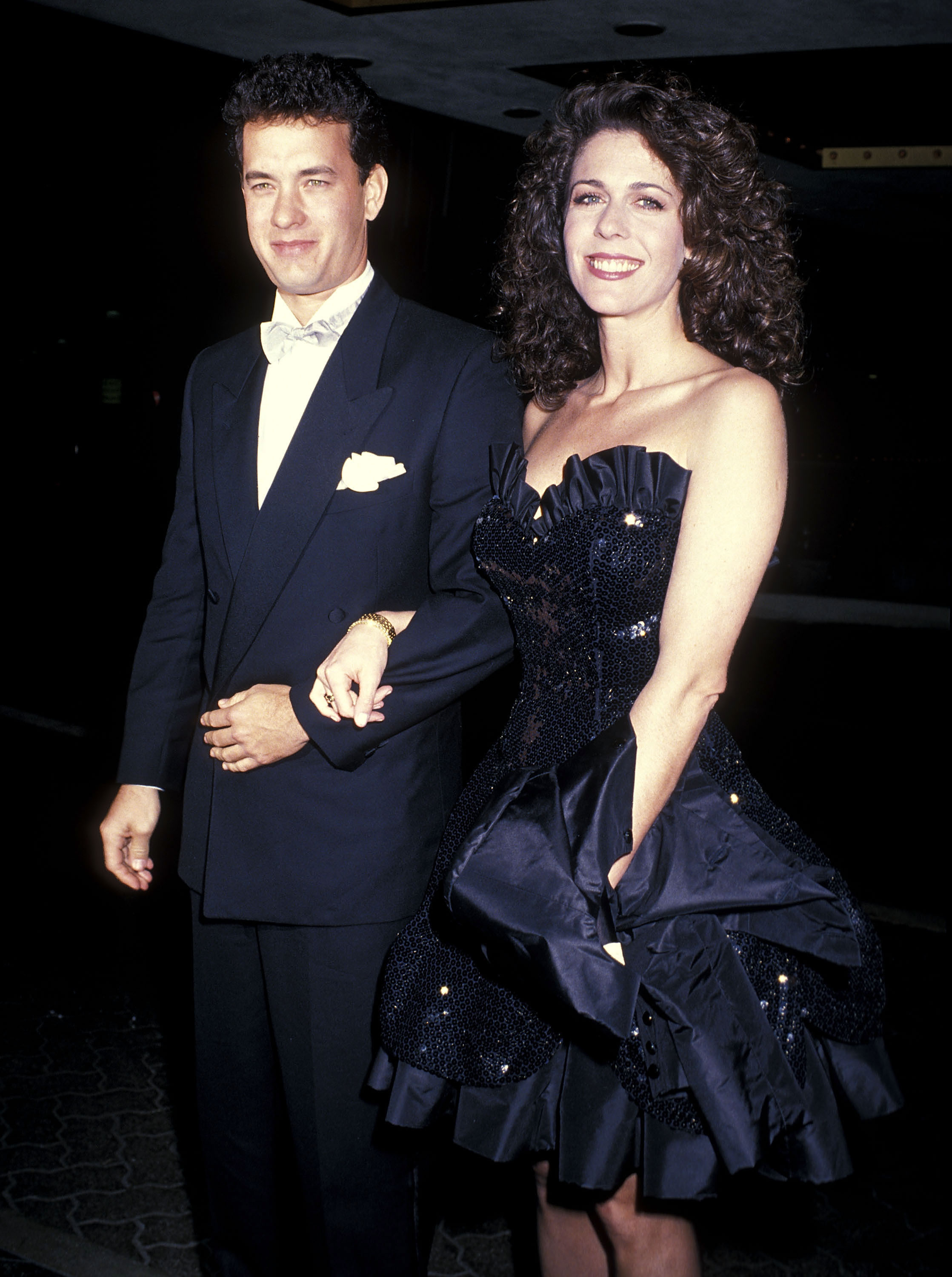 Actor Tom Hanks and actress Rita Wilson attend the 46th Annual Golden Globe Awards at the Beverly Hilton Hotel in Beverly Hills on Jan. 28, 1989.