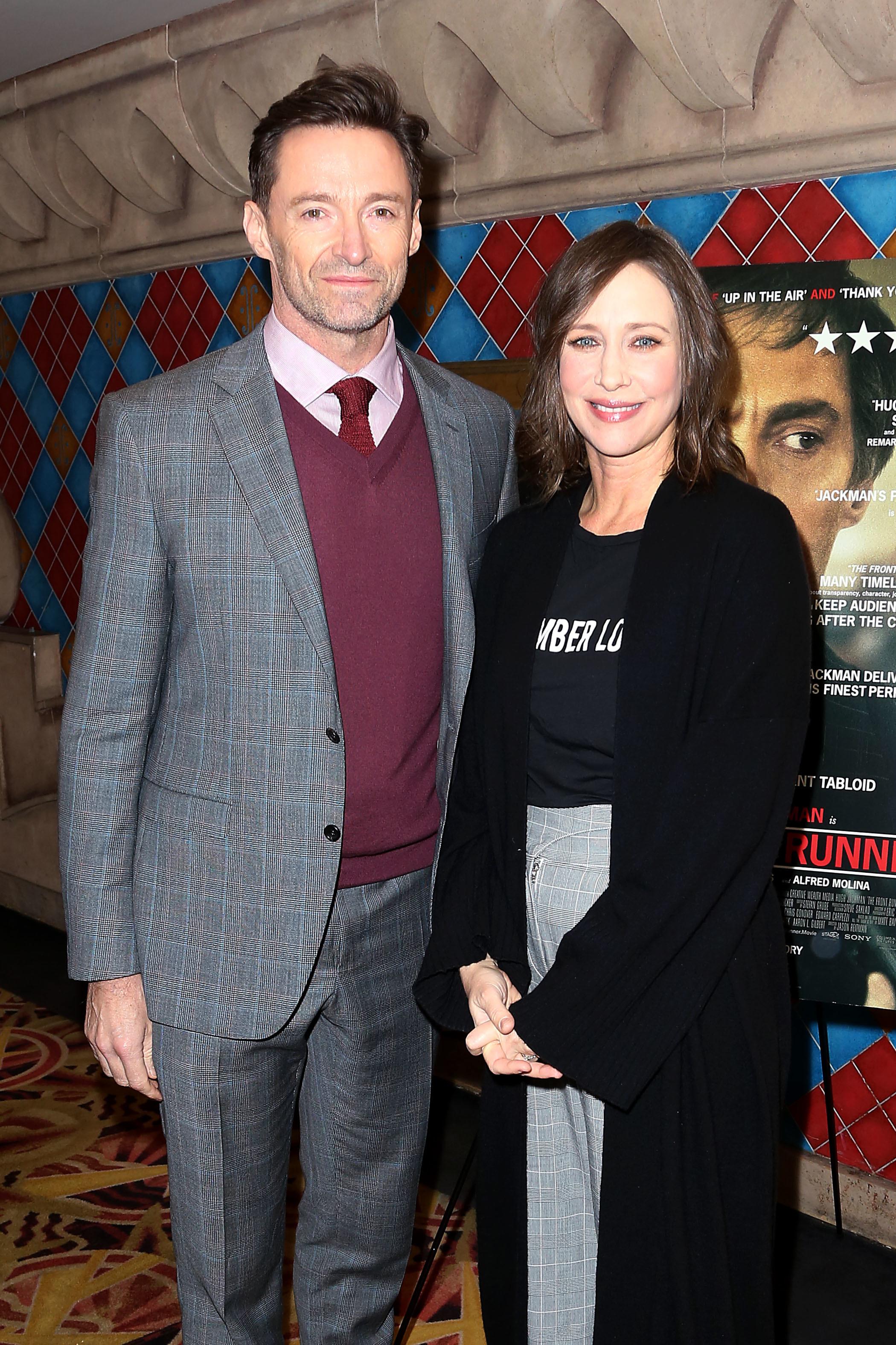 """Hugh Jackman and Vera Farmiga attend the screening of """"The Front Runner"""" in New York City on Nov. 13, 2018."""