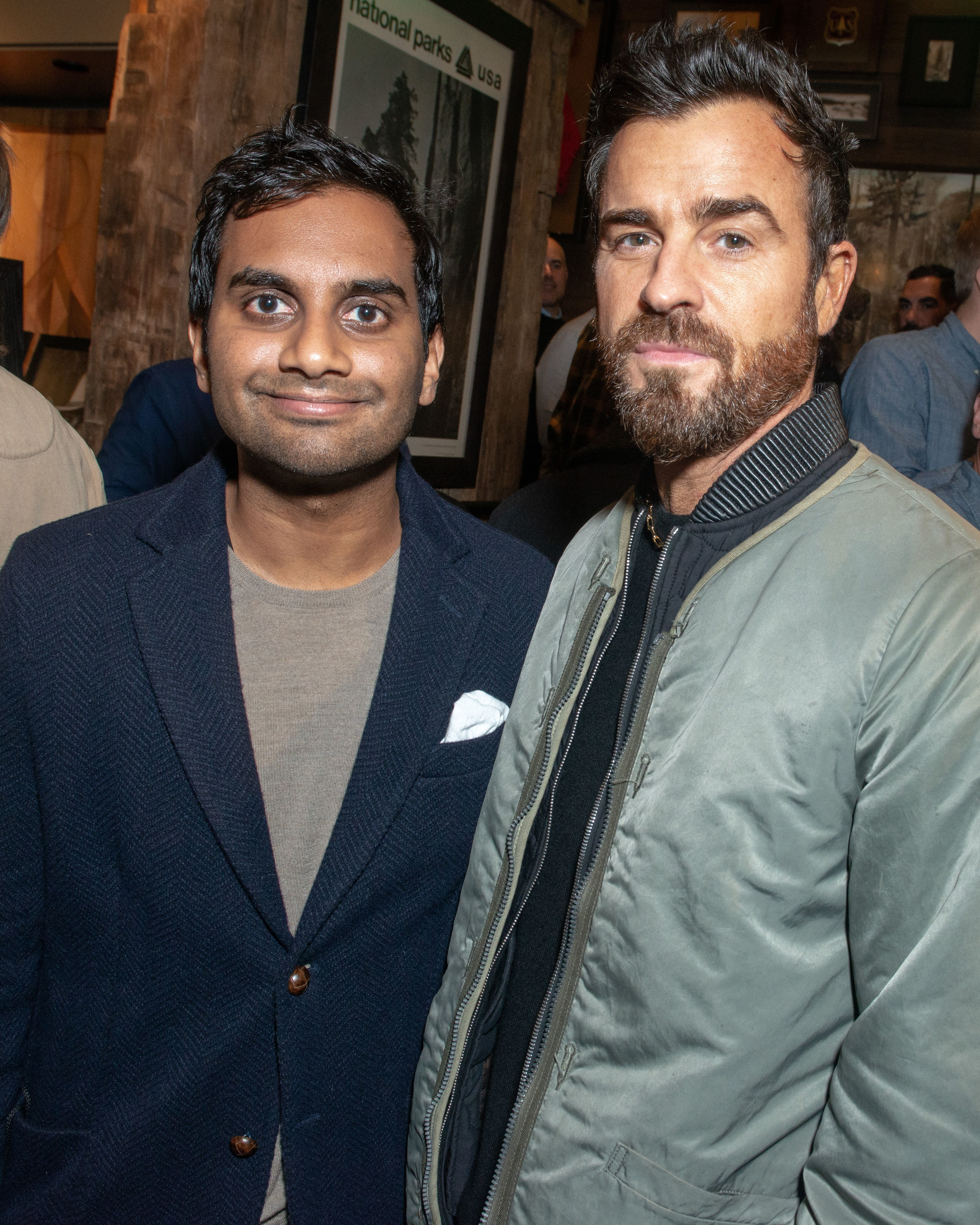 Aziz Ansari and Justin Theroux attend the Filson flagship store opening party in New York City on Nov. 13, 2018.