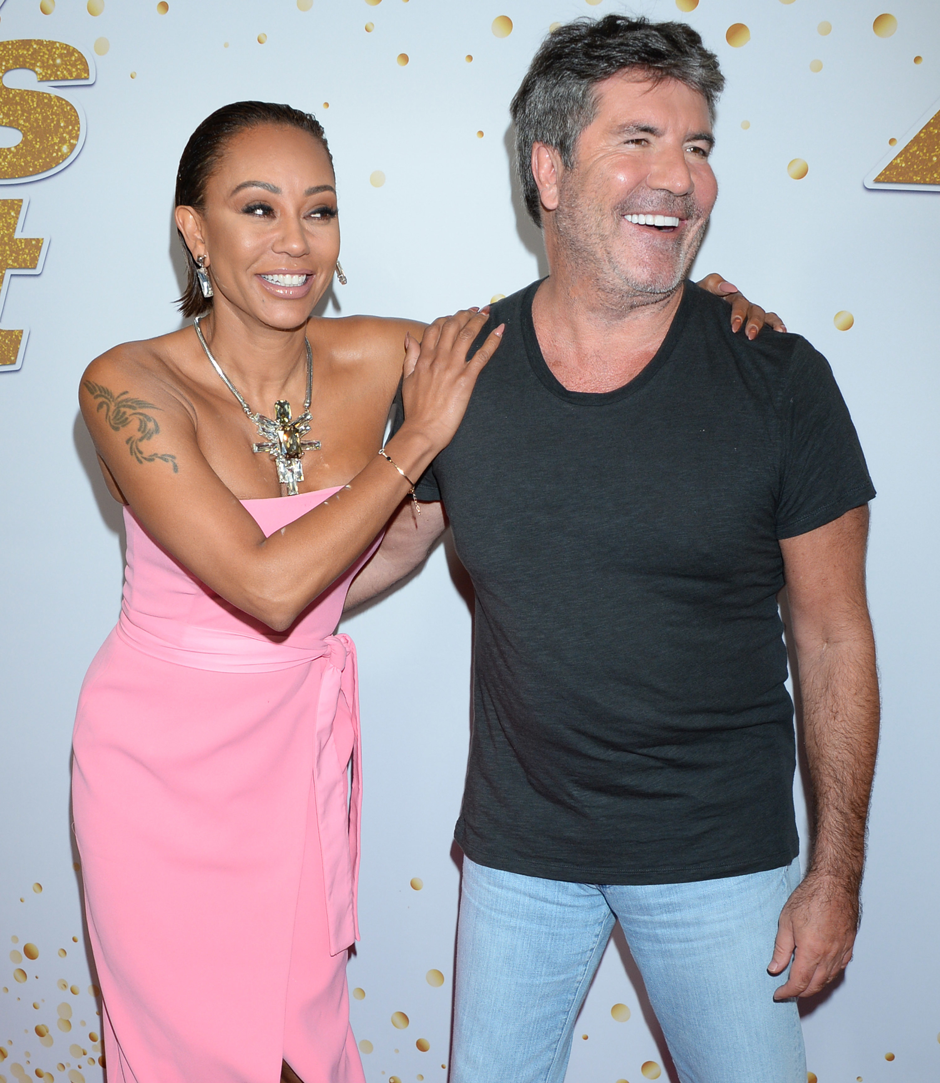 "Melanie Brown and Simon Cowell arrive for a Season 13 live show taping of ""America's Got Talent"" in Los Angeles on Sept. 11, 2018."