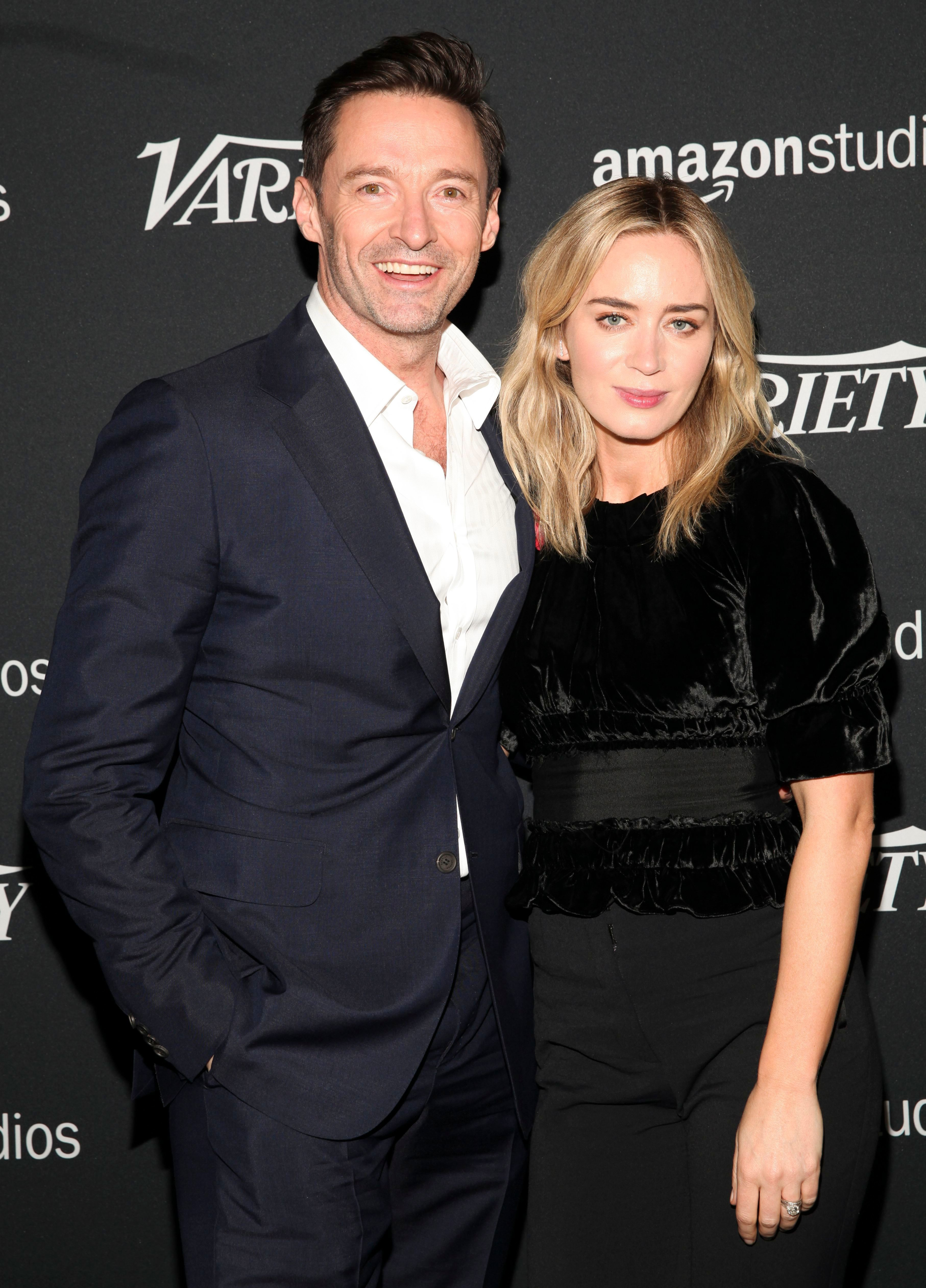 Hugh Jackman and Emily Blunt attend the Variety Actors on Actors event in Los Angeles on Nov. 17, 2018.