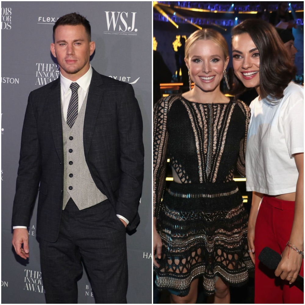 Channing Tatum, Kristen Bell and Mila Kunis appear in a composite image from 2018.