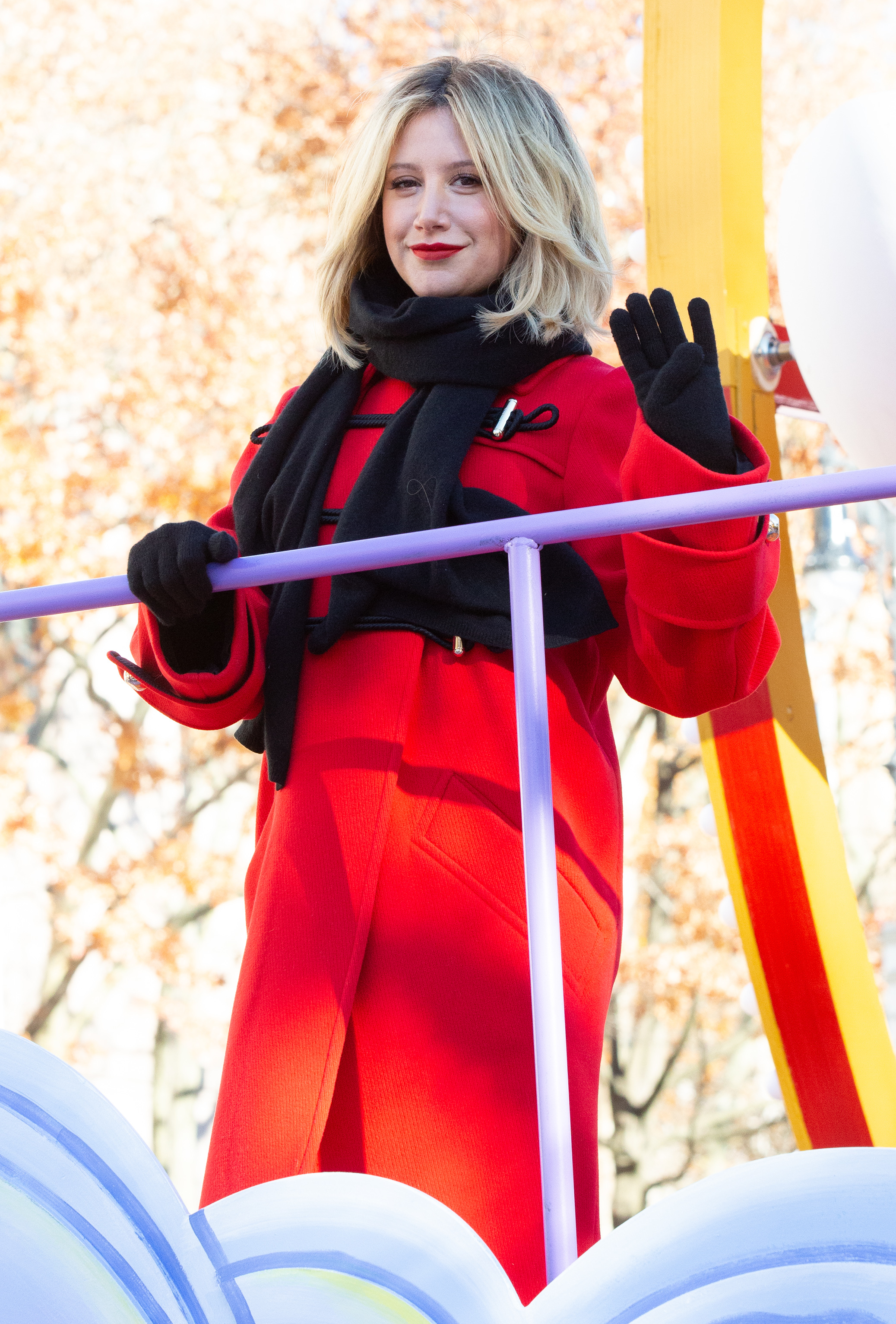 Ashley Tisdale performs in the Macy's Thanksgiving Day Parade in New York City on Nov. 22, 2018.