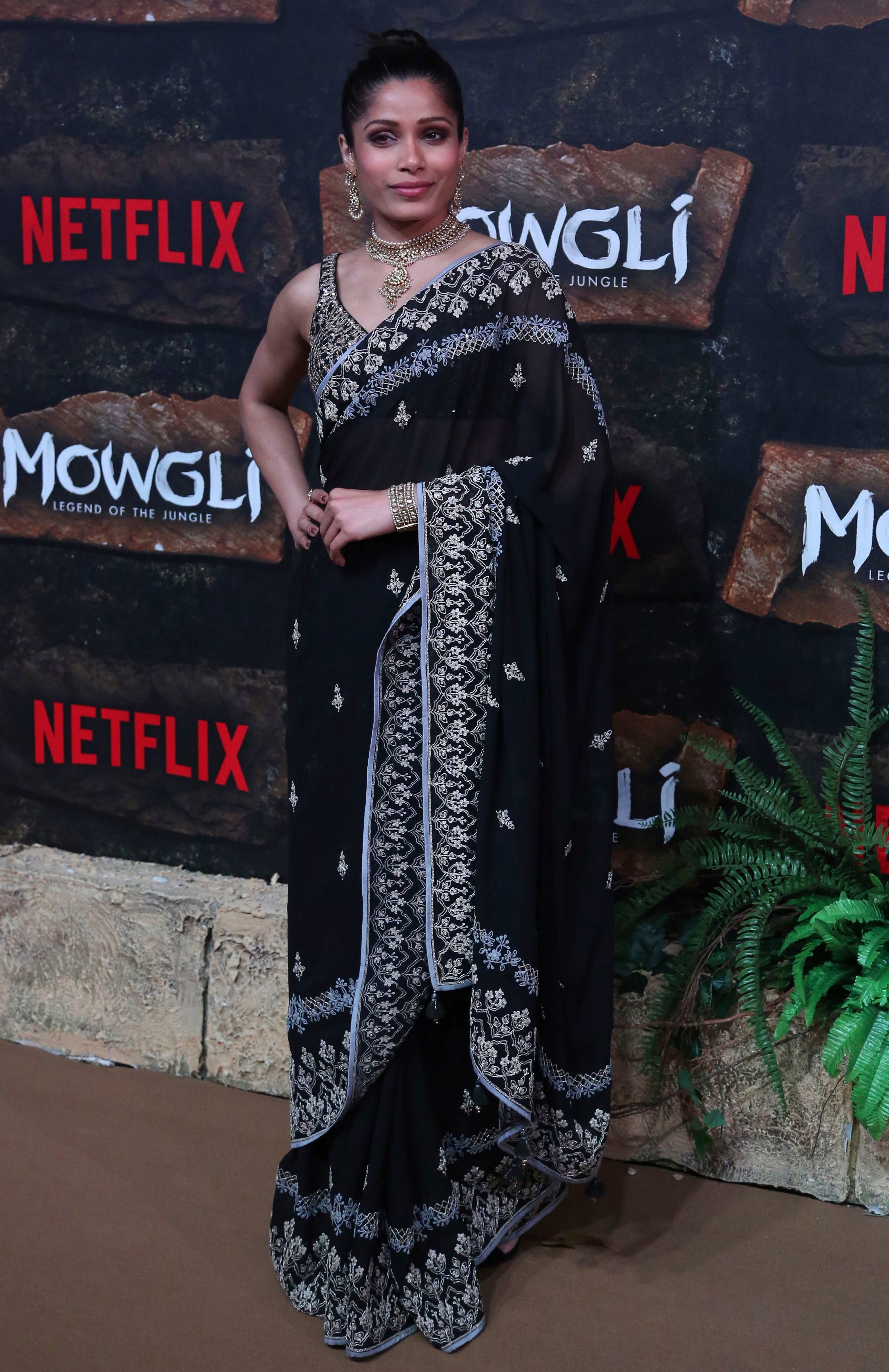 "Freida Pinto poses during a red carpet of Netflix's ""Mowgli"" world premiere in Mumbai, India, on Nov. 25, 2018."
