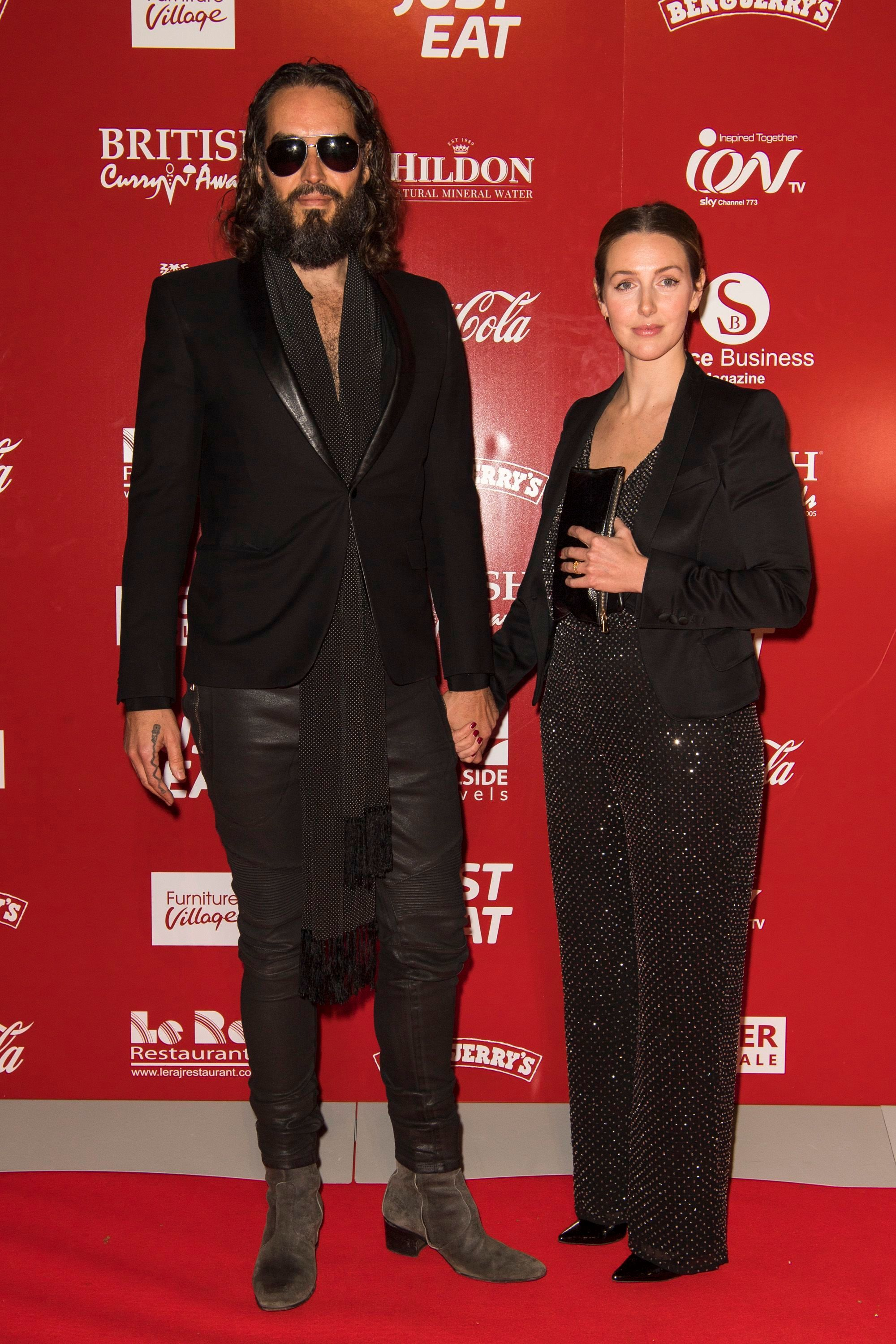 Russell Brand and Laura Gallacher attend the British Curry Awards in London on Nov. 26, 2018.