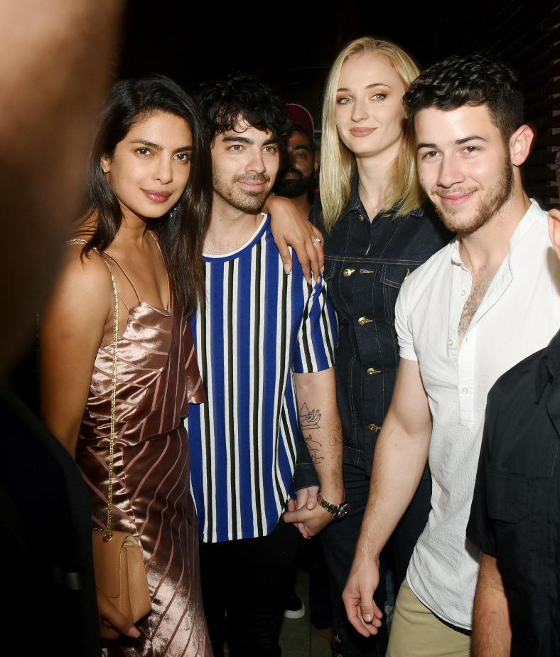 Priyanka Chopra, Joe Jonas, Sophie Turner and Nick Jonas step out for dinner in Mumbai on Nov. 26, 2018.