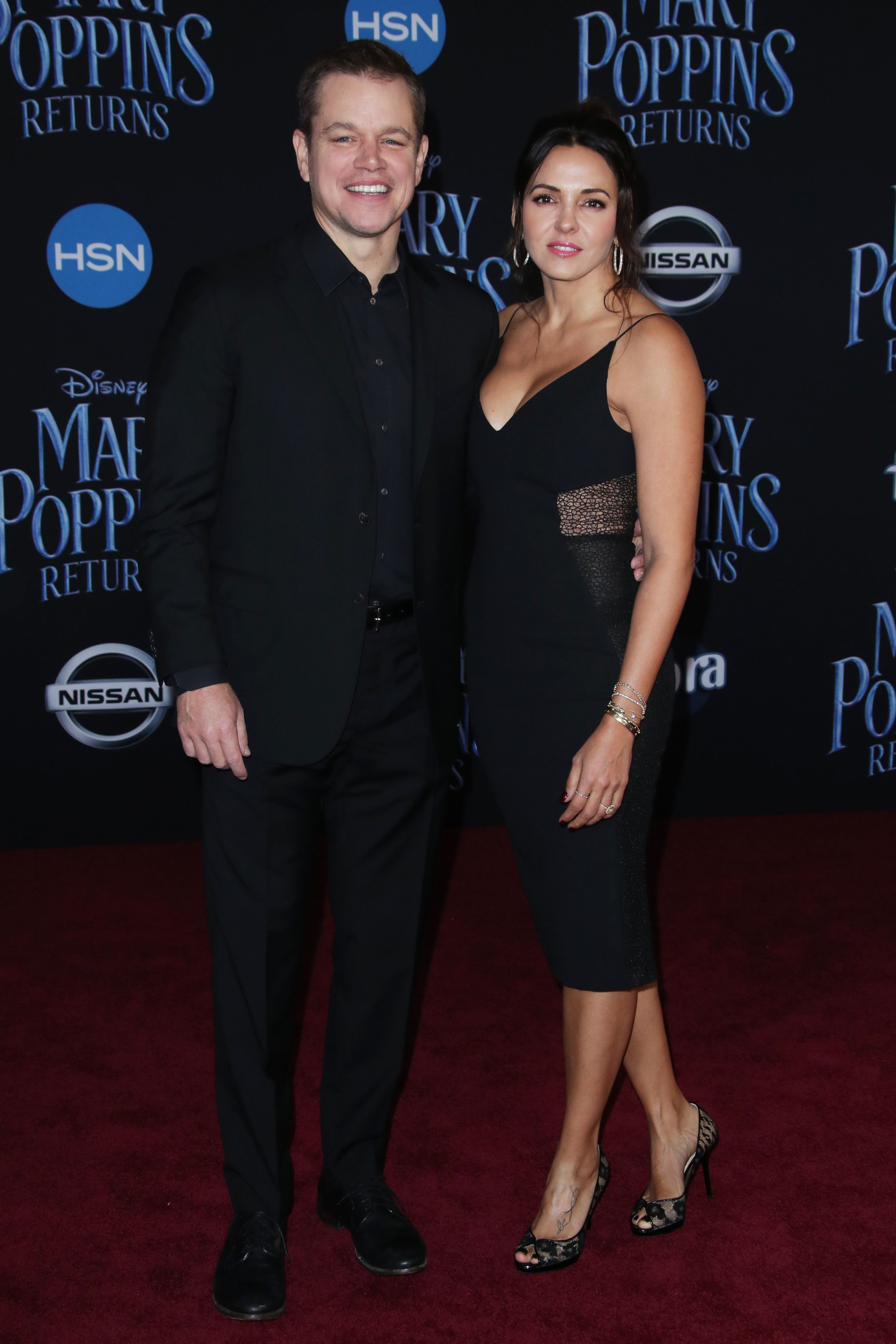 "Matt Damon and wife Luciana attend the premiere of ""Mary Poppins Returns"" at the Dolby Theatre in Hollywood on Nov. 29, 2018."