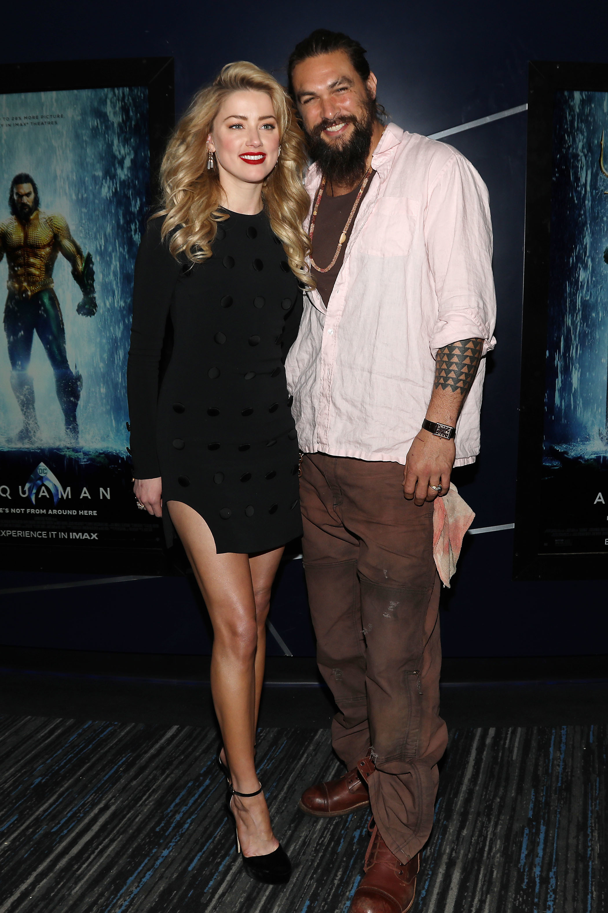 """Amber Heard and Jason Momoa attend a fan screening of """"Aquaman"""" in New York City on Dec. 1, 2018."""