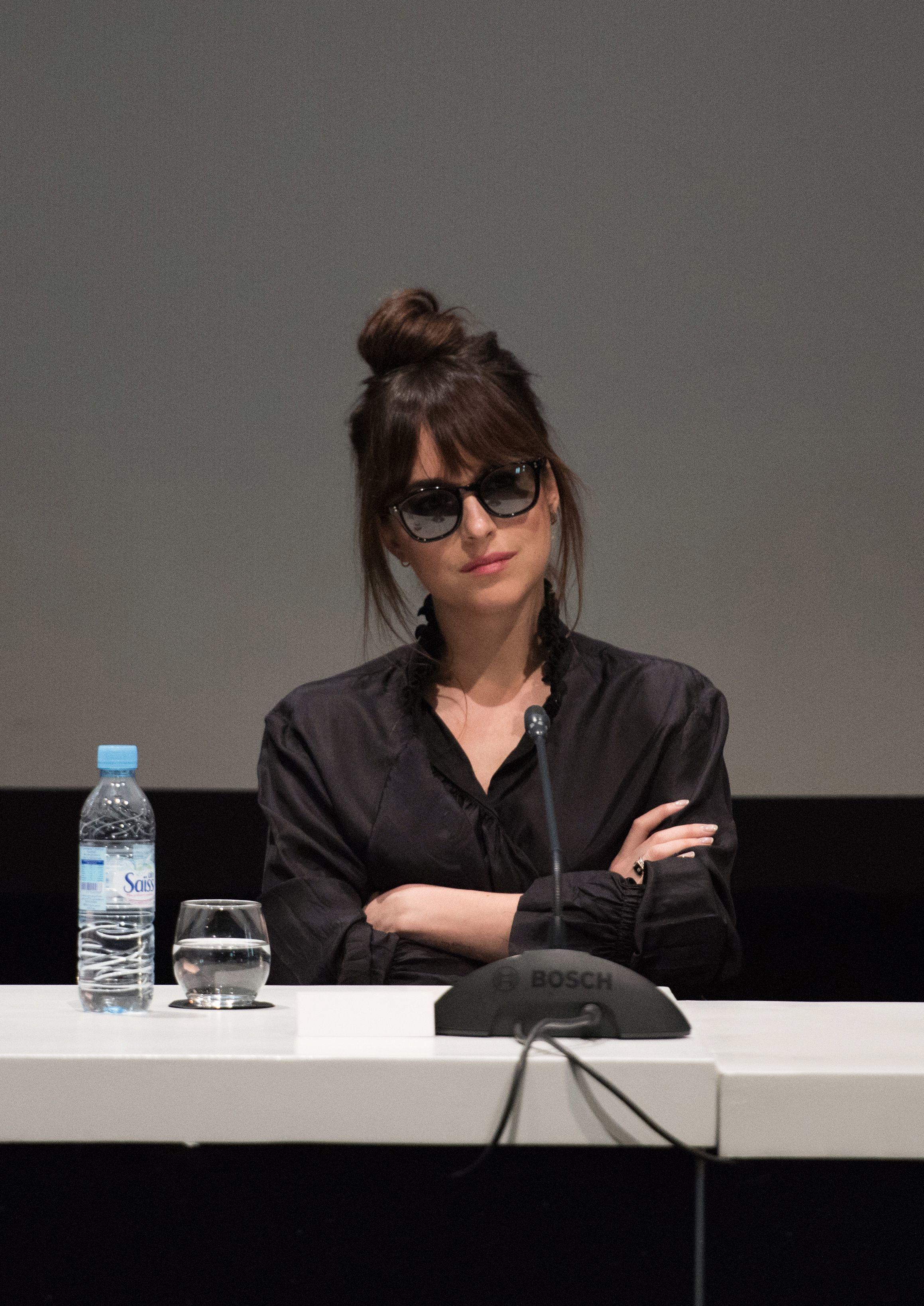 Dakota Johnson attends a press conference at the 17th annual Marrakech International Film Festival, in Marrakech, Morocco, on Dec. 1, 2018.