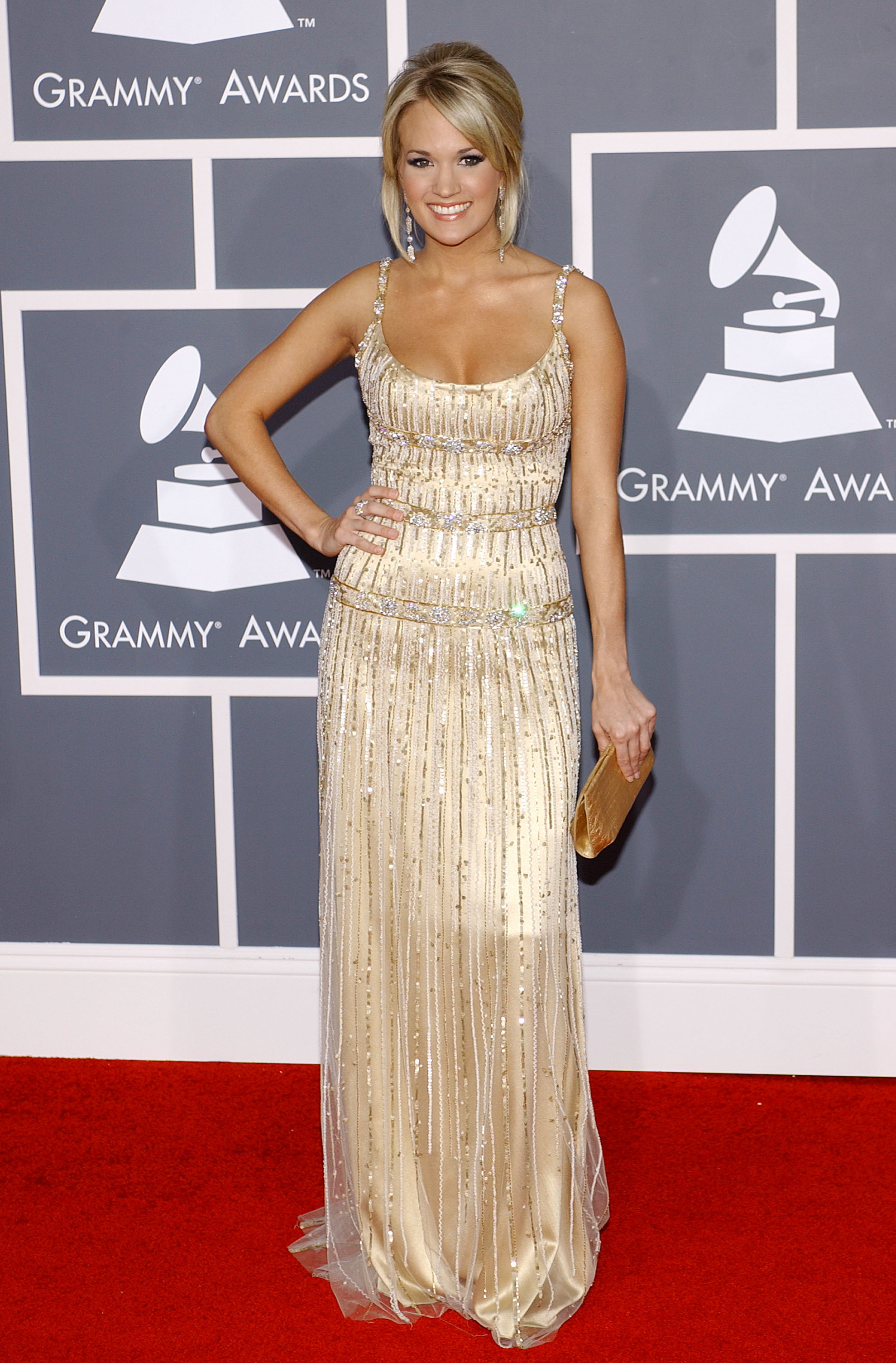 Carrie Underwood arrives at the 51st Annual Grammy Awards at the Staples Center in Los Angeles on Feb. 8, 2009.