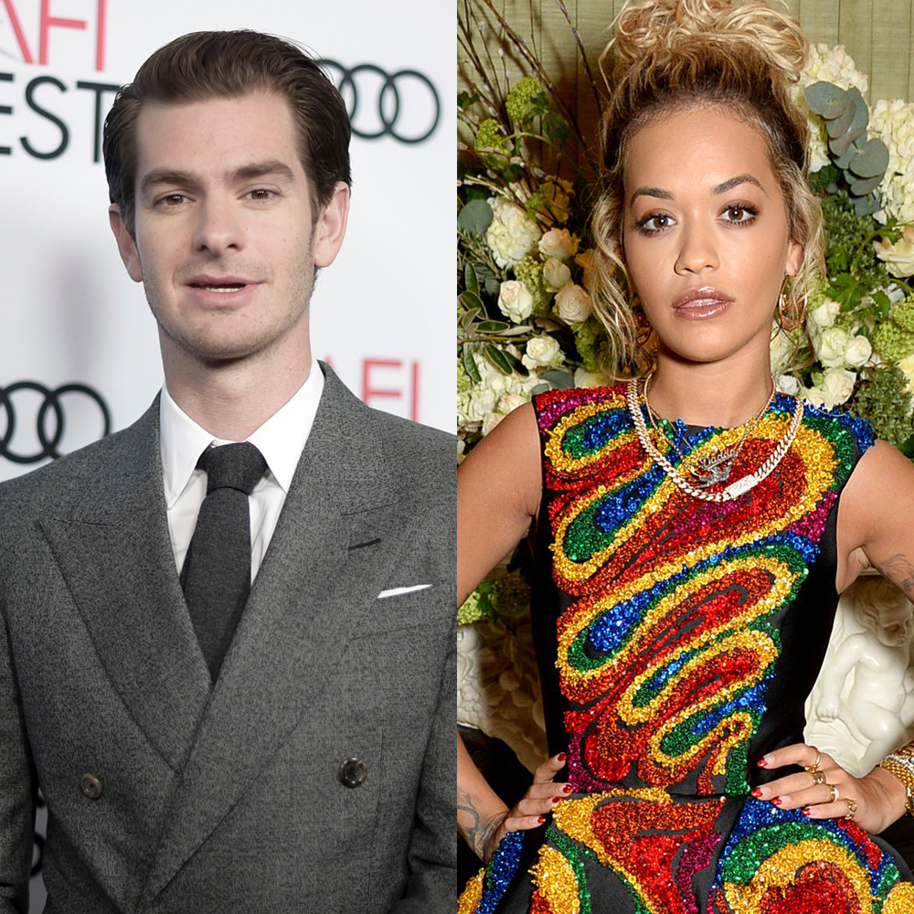 "Andrew Garfield attends the AFI Fest presented by Audi premiere of ""Under the Silver Lake"" at the Egyptian Theater in Hollywood on Nov. 12, 2018. Rita Ora attends the Vogue and Tiffany & Co. party at Annabel's in London on Feb. 18, 2018."