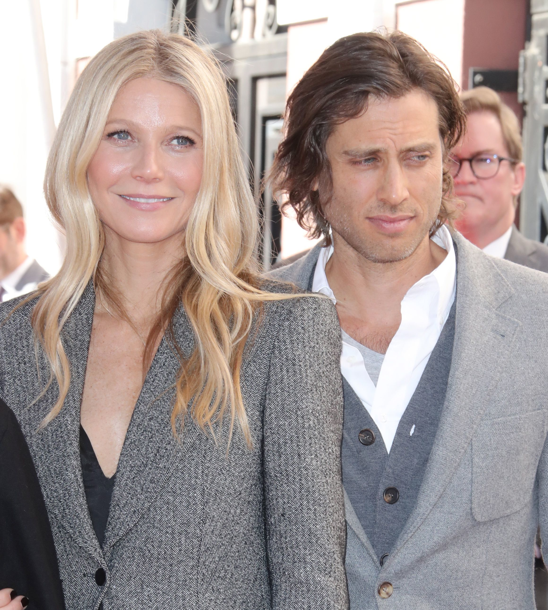 Gwyneth Paltrow and Brad Falchuk attend Ryan Murphy's Hollywood Walk of Fame ceremony on Dec. 4, 2018.