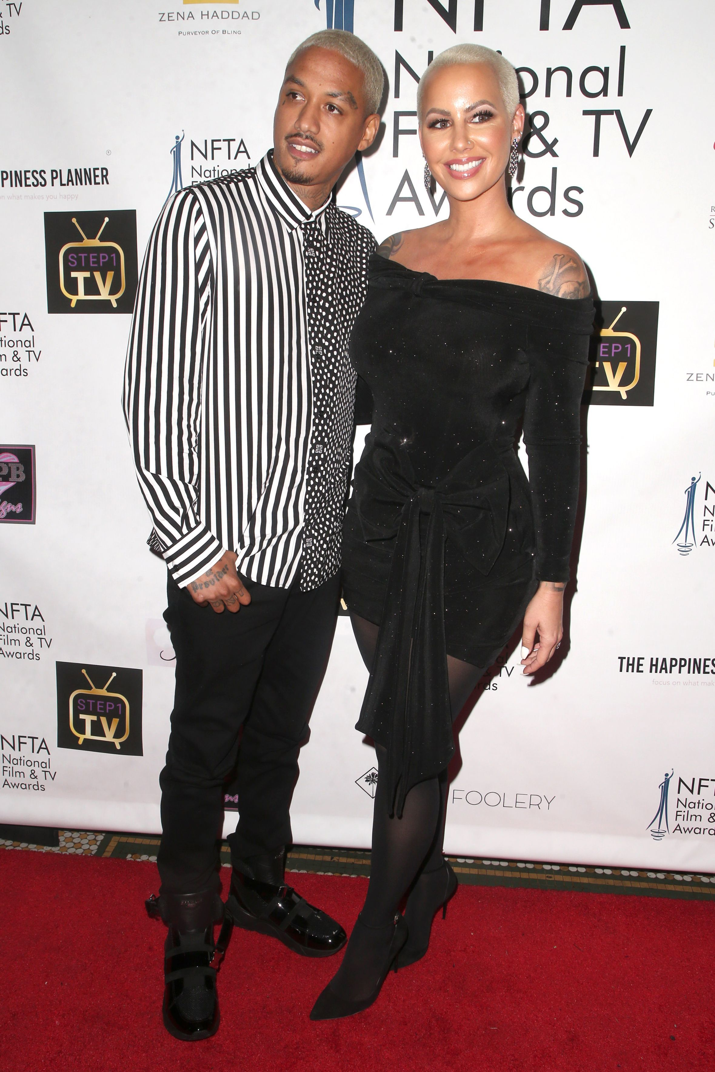 Alexander Edwards and Amber Rose attend The National Film and Television Awards in Los Angeles on DEc. 5, 2018.