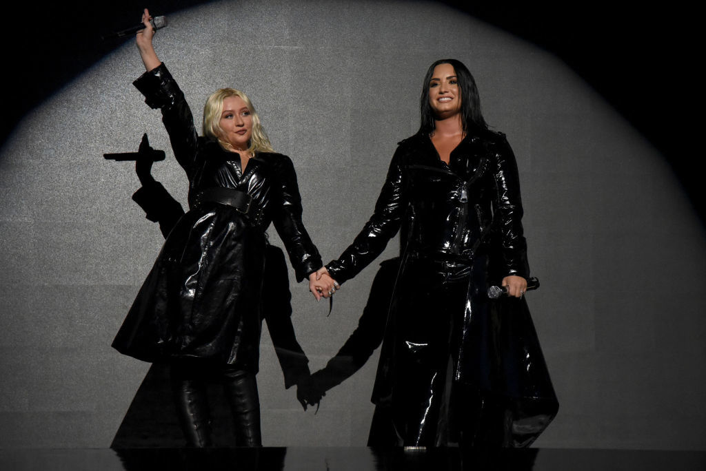 Christina Aguilera and Demi Lovato appear at the Billboard Music Awards in Las Vegas on May 20, 2018.
