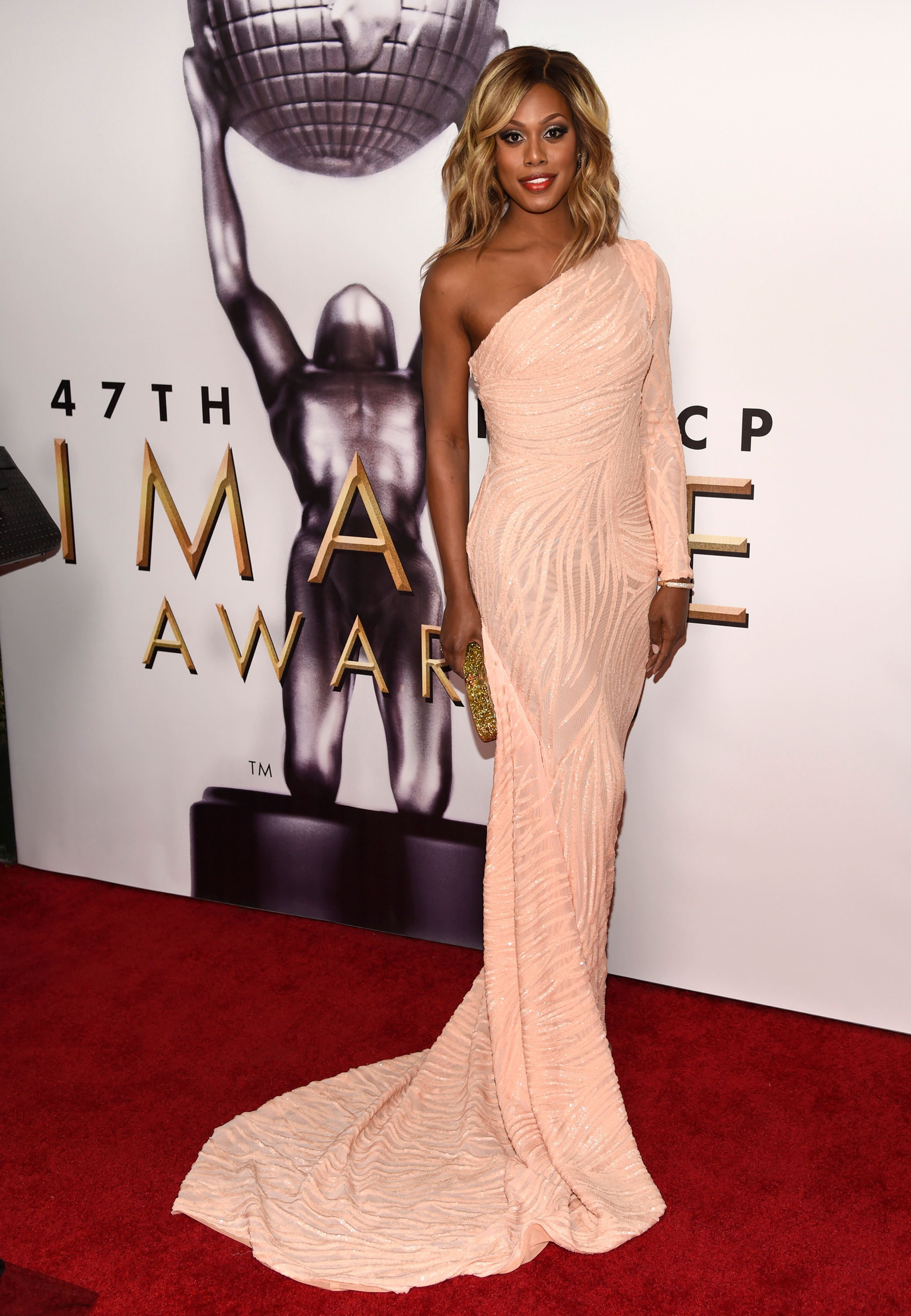 Laverne Cox arrives at the 47th NAACP Image Awards at the Pasadena Civic Auditorium in Pasadena on Feb. 5, 2016.