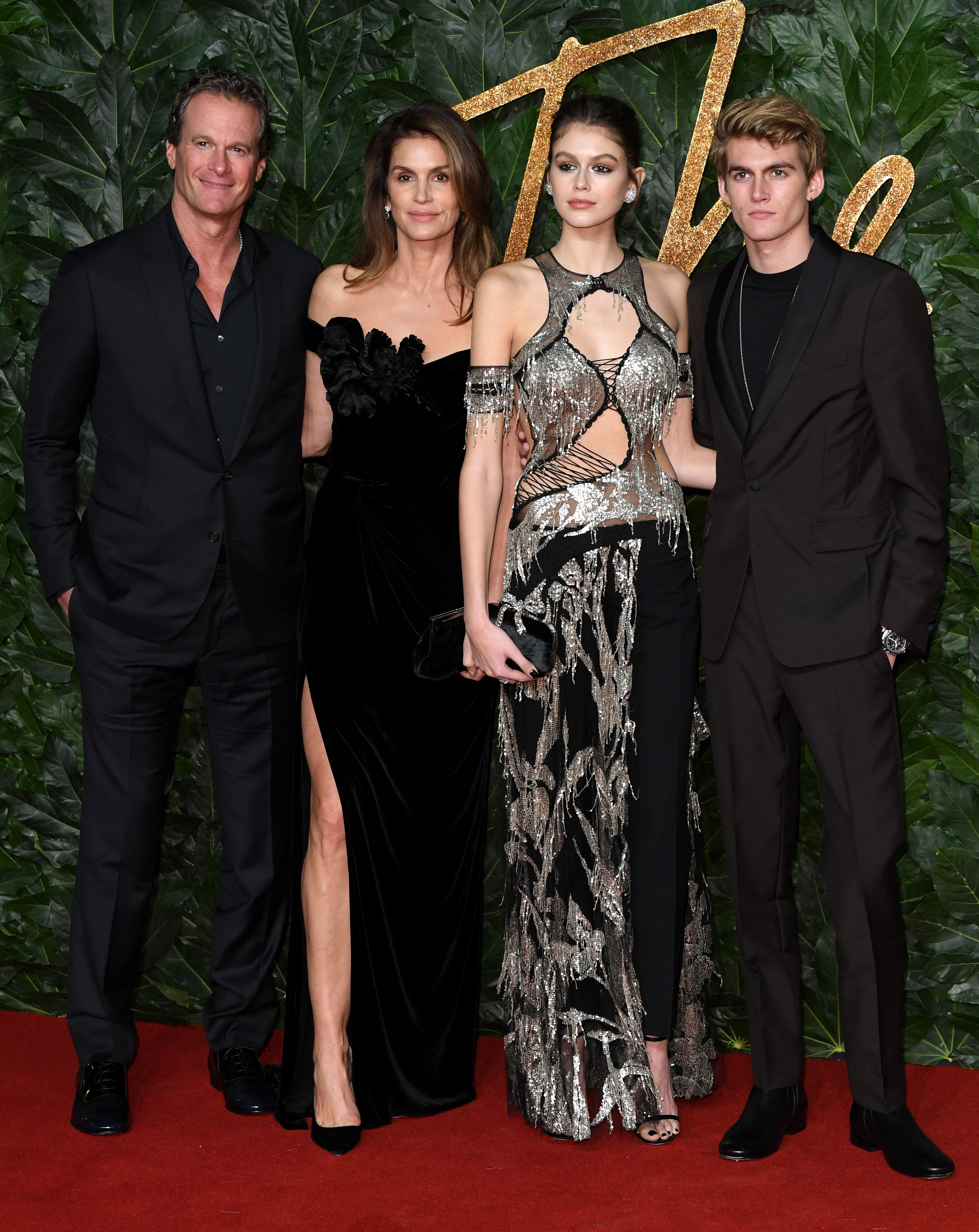 Rande Gerber, Cindy Crawford, Kaia Gerber and Presley Gerber attend the British Fashion Awards at Royal Albert Hall in London on Dec. 10, 2018.