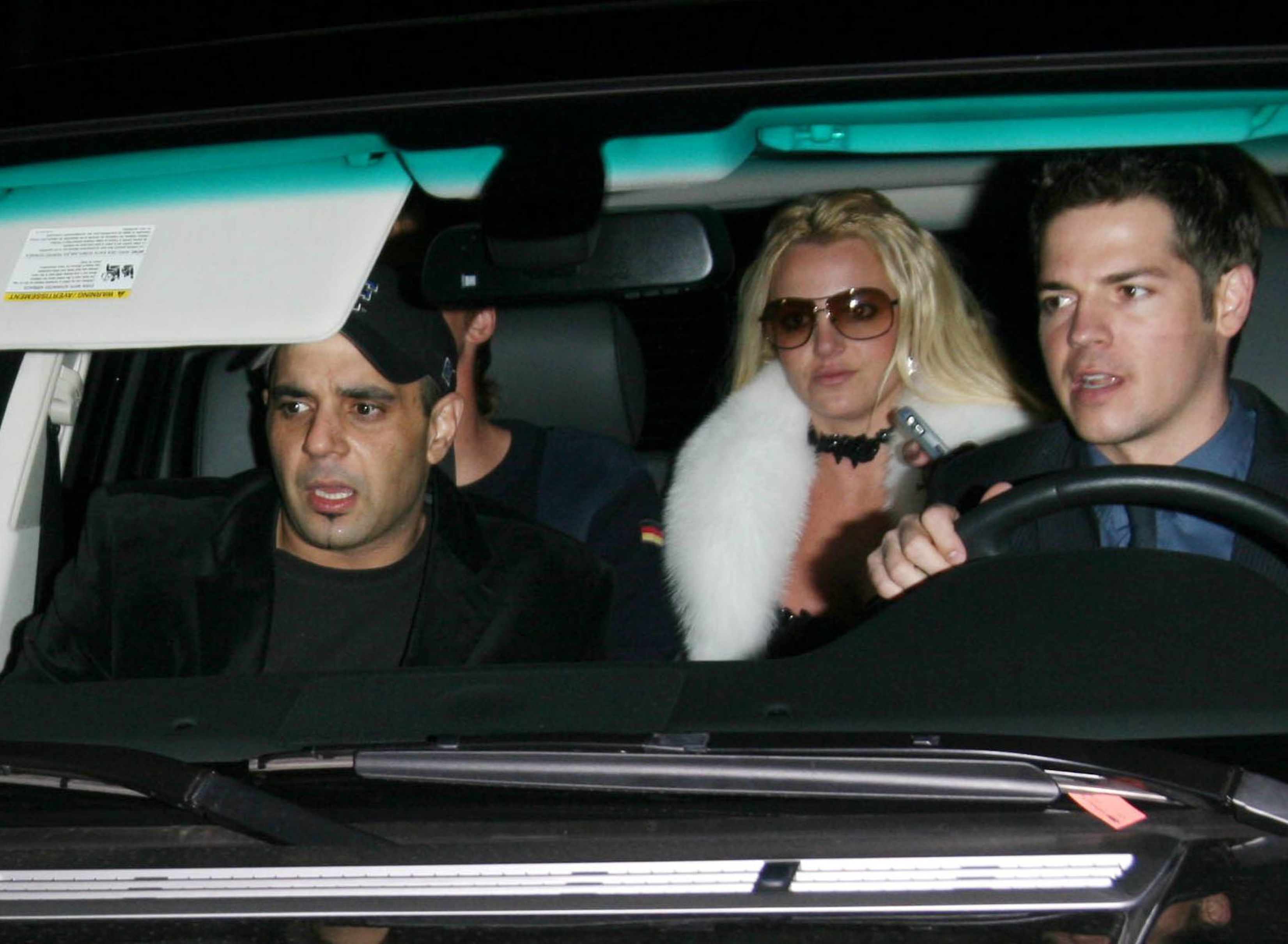 Sam Lutfi and Britney Spears arrive at Sharon Stone's Scandinavian Style Mansion Party in Los Angeles' Bel Air neighborhood on Dec. 1, 2007.