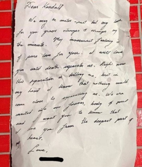 kendall jenner shares a mystery love letter