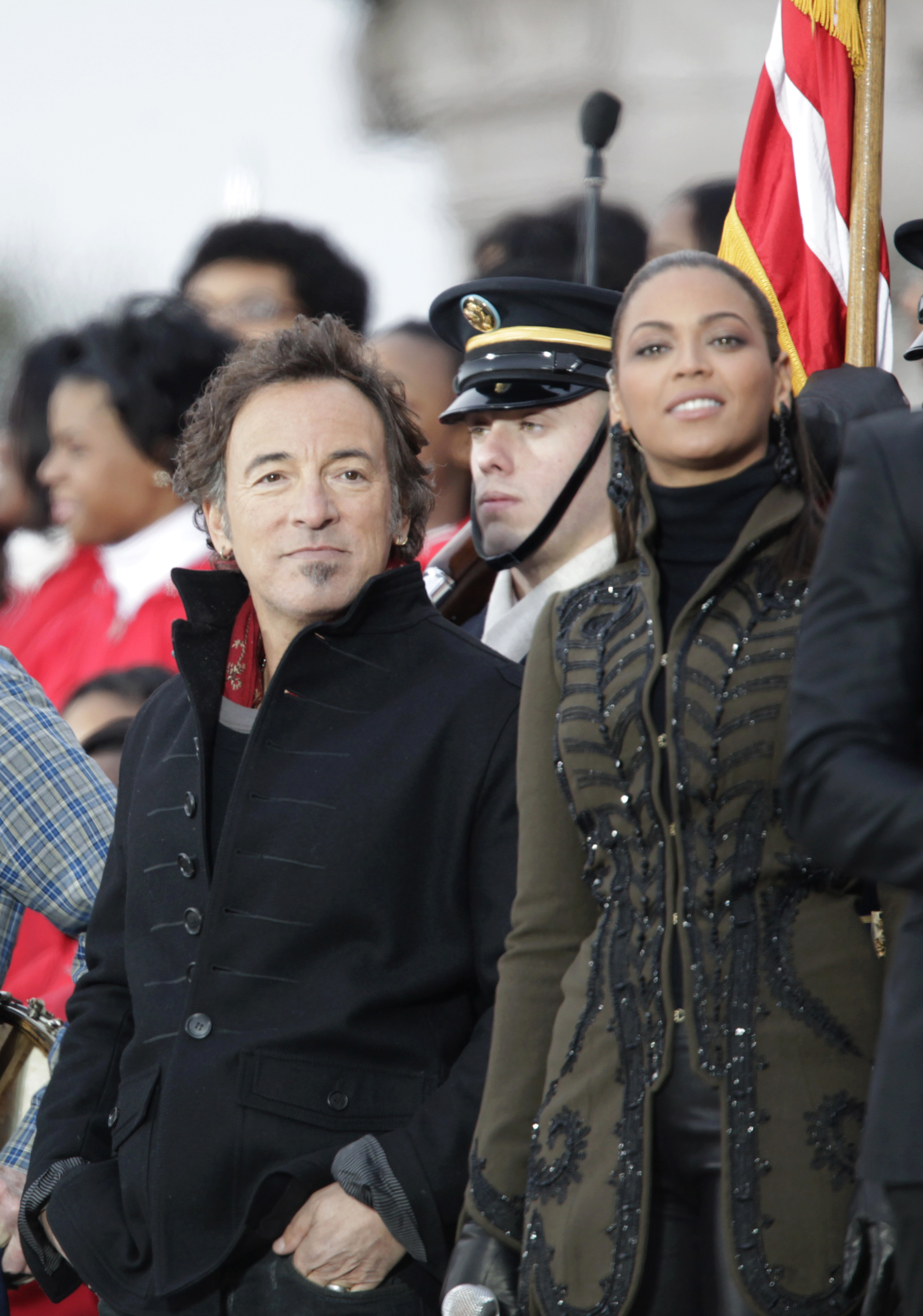 Bruce Springsteen and Beyonce attend We Are One: The Obama Inaugural Celebration at the Lincoln Memorial in Washington, D.C., on Jan. 18, 2009.