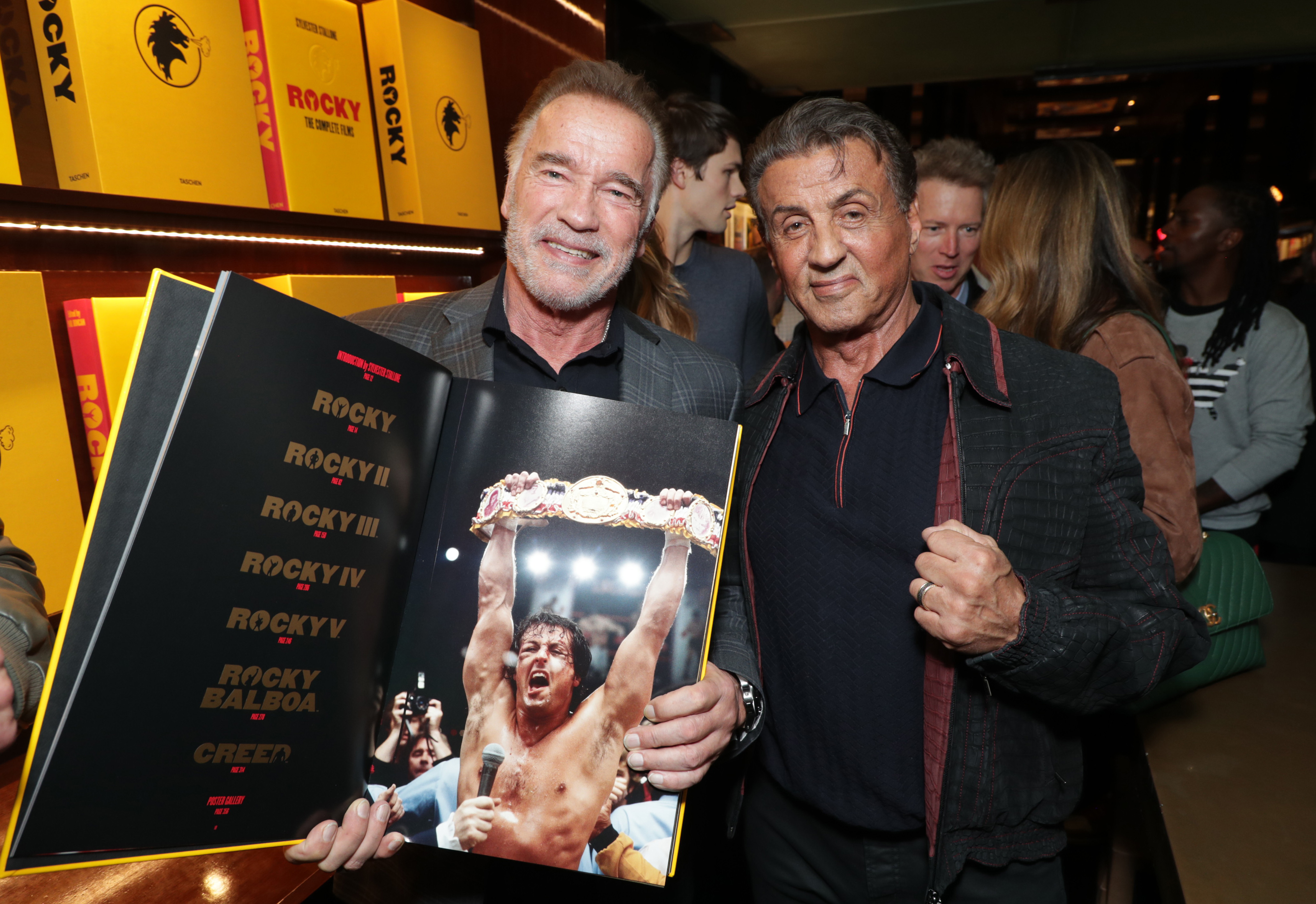 "Arnold Schwarzenegger and Sylvester Stallone attend the launch of ""Rocky. The Complete Films"" at TASCHEN Beverly Hills, California, on Dec. 11, 2018."