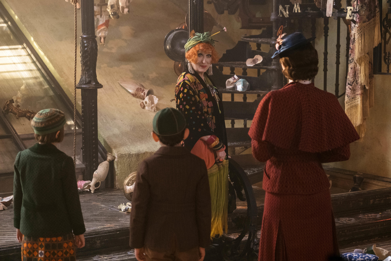 "Meryl Streep as Cousin Topsy in 2018's ""Mary Poppins Returns."""