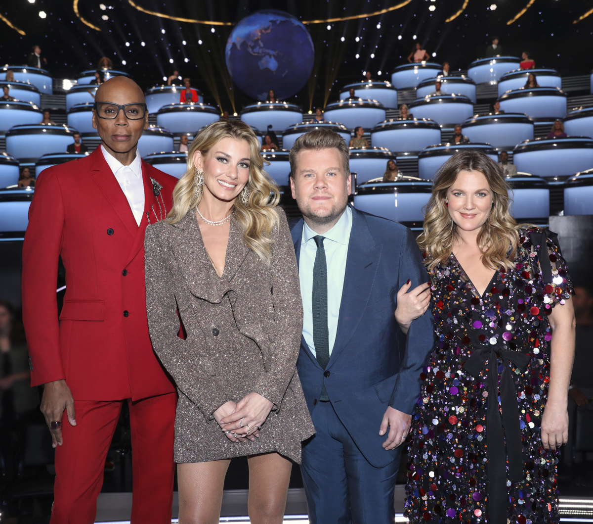 "Rupaul Charles, Faith Hill, James Corden and Drew Barrymore on ""The World's Best."""
