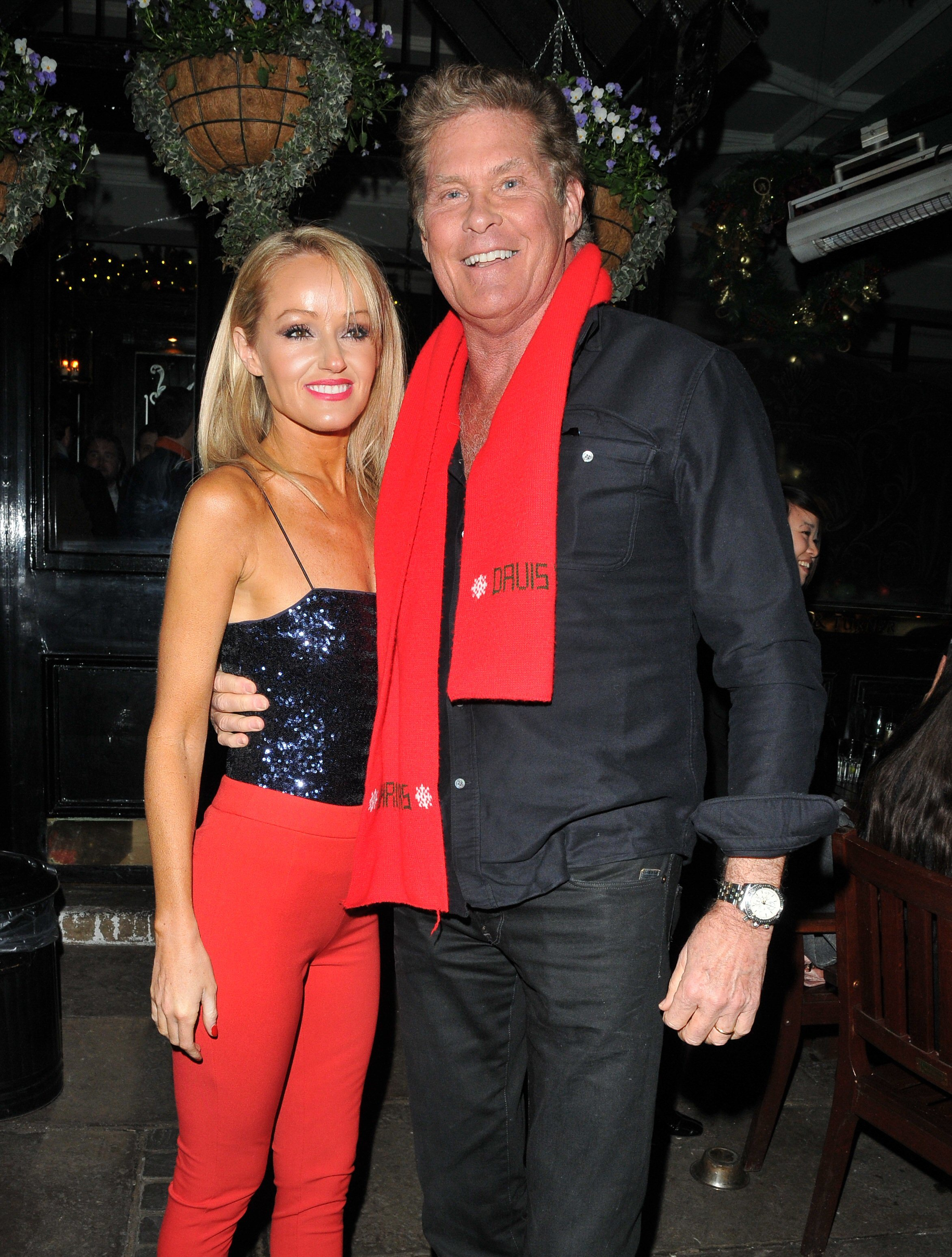David Hasselhoff and Hayley Roberts attends the Piers Morgan's Christmas party in London on Dec. 20, 2018.
