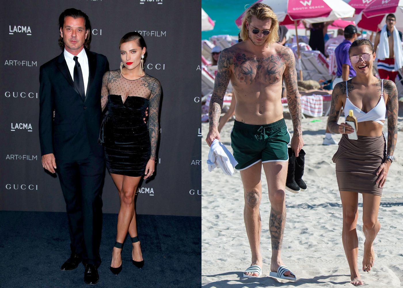 Gavin Rossdale and Sophia Thomalla attend the LACMA Art + Film Gala in Los Angeles on Nov. 3, 2018. Loris Karius and Sophia Thomalla walk on the beach in Miami on Dec. 30, 2018.