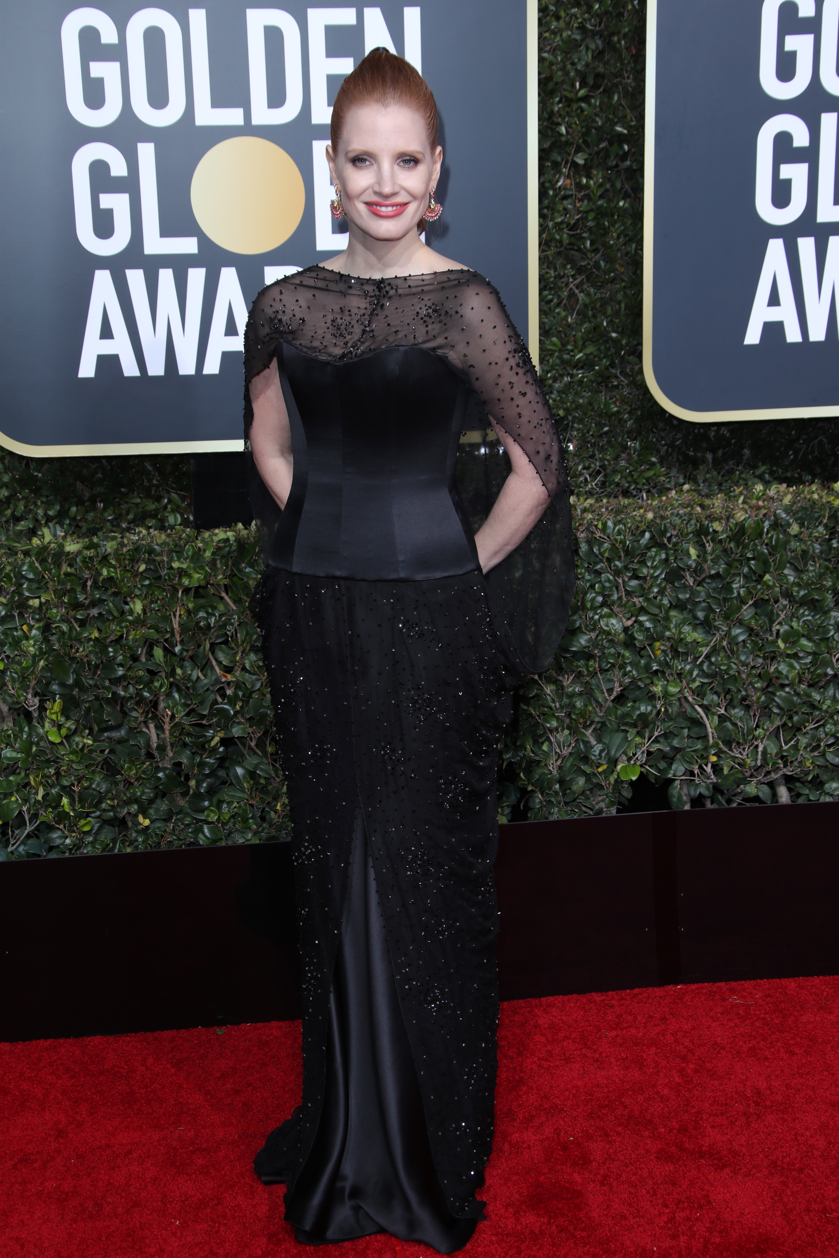 Jessica Chastain attends the 76th Annual Golden Globe Awards in Los Angeles on Jan. 6, 2019.