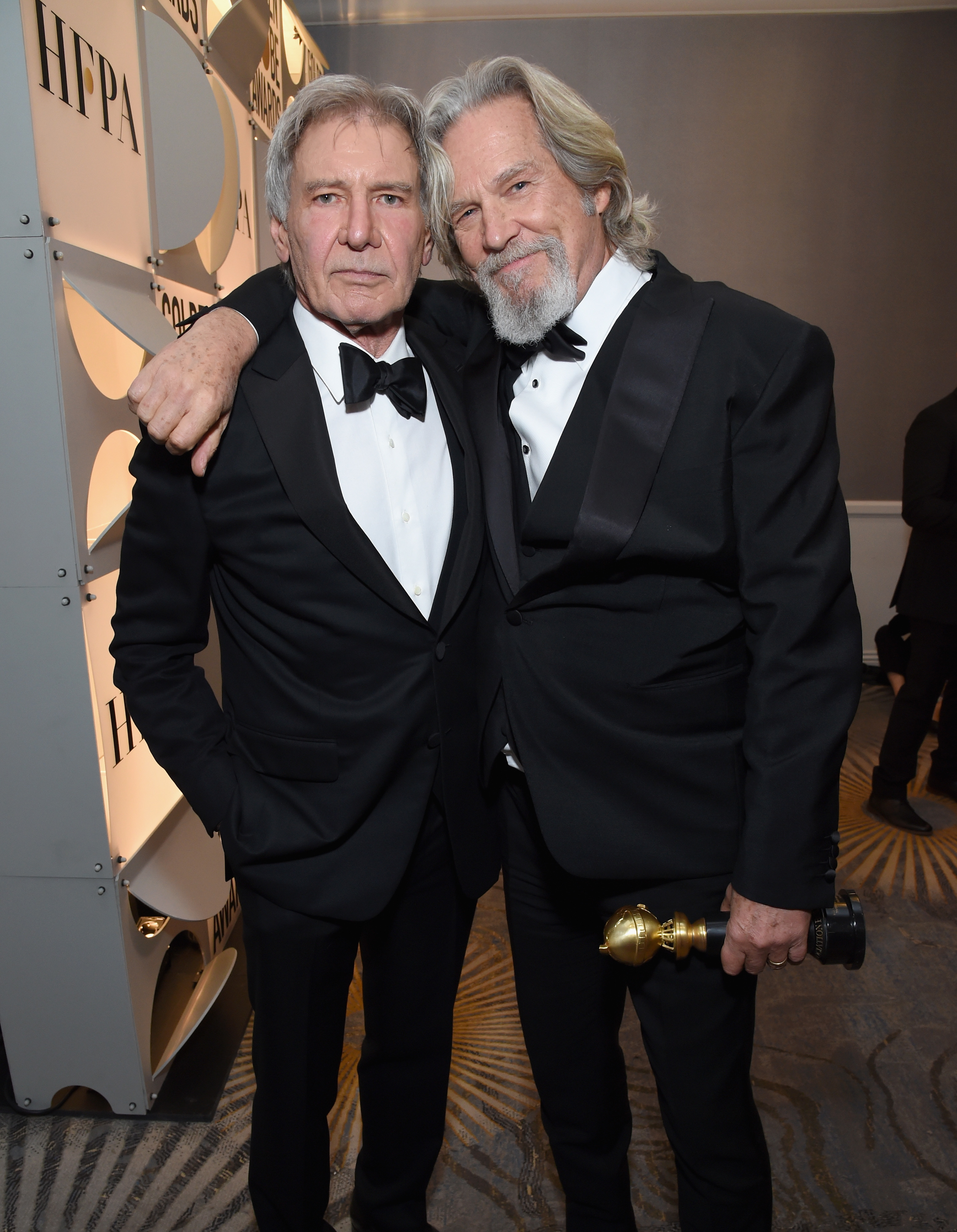 Harrison Ford and Jeff Bridges attend Moet & Chandon at The 76th Annual Golden Globe Awards at The Beverly Hilton Hotel in Beverly Hills, California on Jan. 6, 2019.
