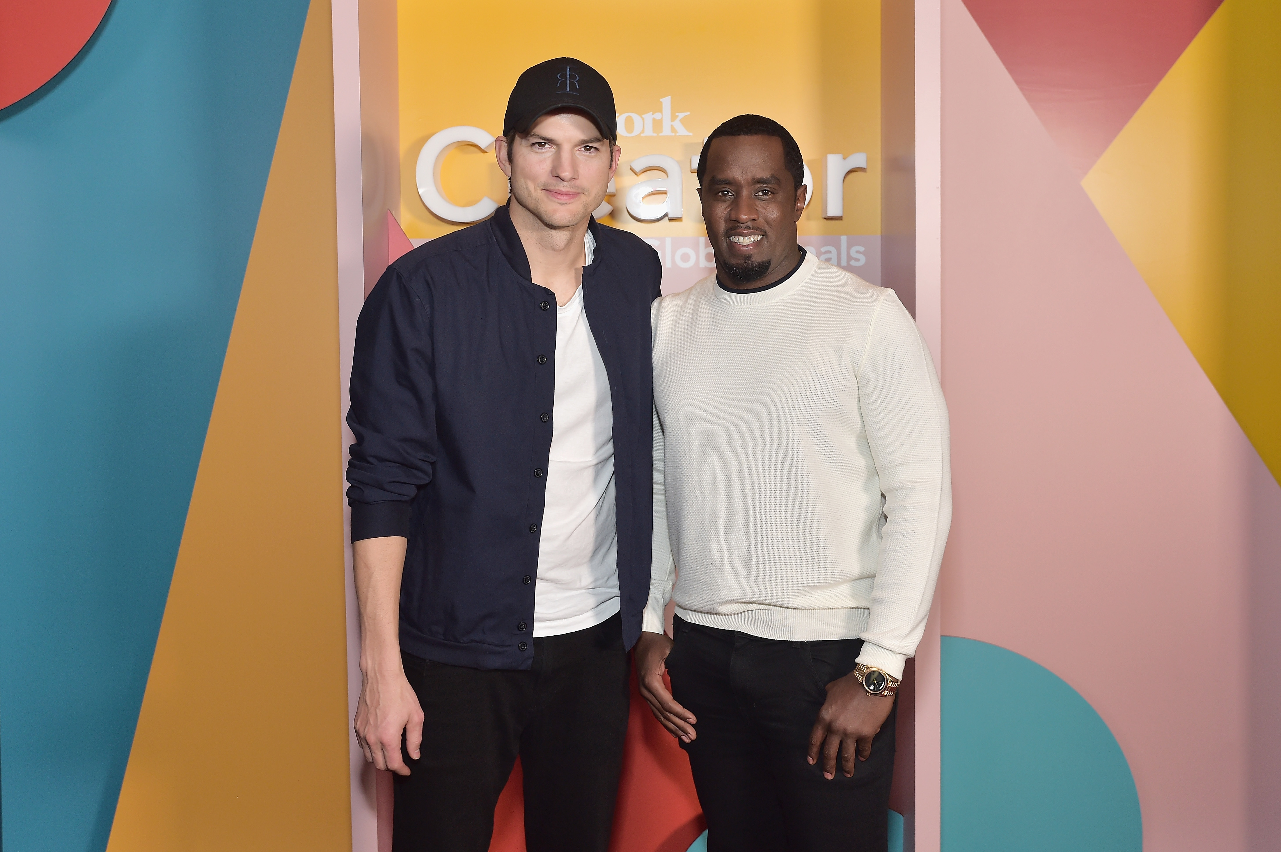 Ashton Kutcher and Sean Combs attend WeWork Presents Second Annual Creator Global Finals at Microsoft Theater in Los Angeles on Jan. 9, 2019.