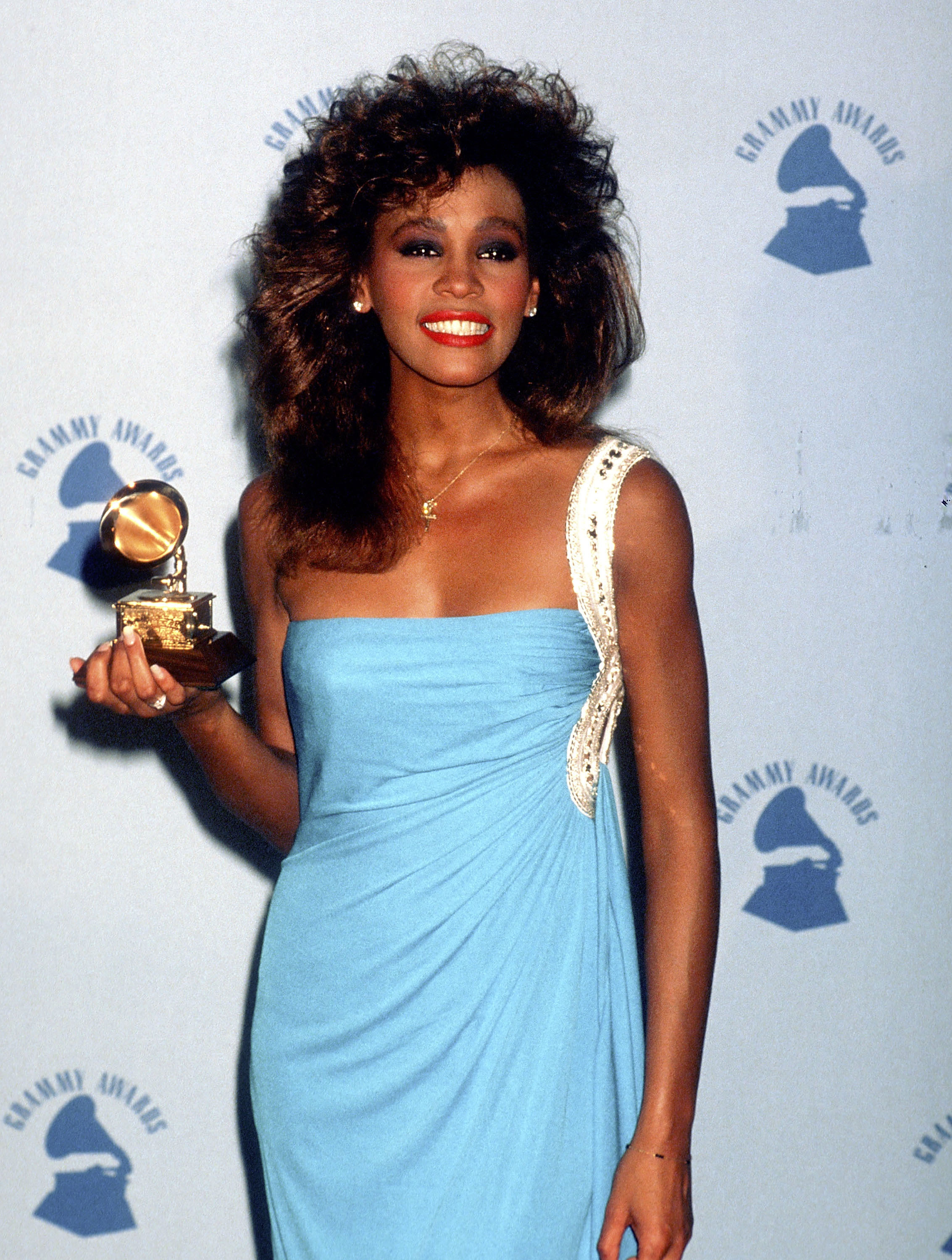 Whitney Houston attends the 28th Annual Grammy Awards in Los Angeles on Feb. 25, 1986.
